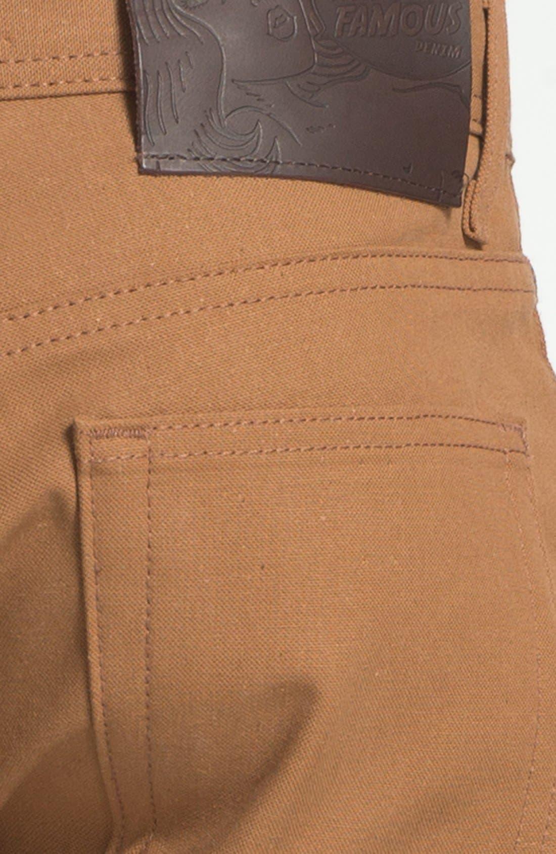 Alternate Image 4  - Naked & Famous Denim Weird Guy Slim Selvedge Duck Canvas Jeans (Vintage Brown Khaki)