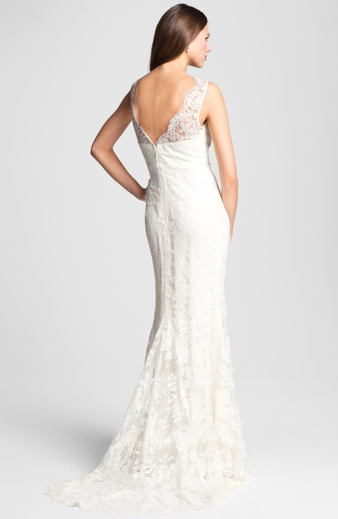 Alternate Image 2  - Nicole Miller 'Brooke' Sleeveless Lace Trumpet Gown