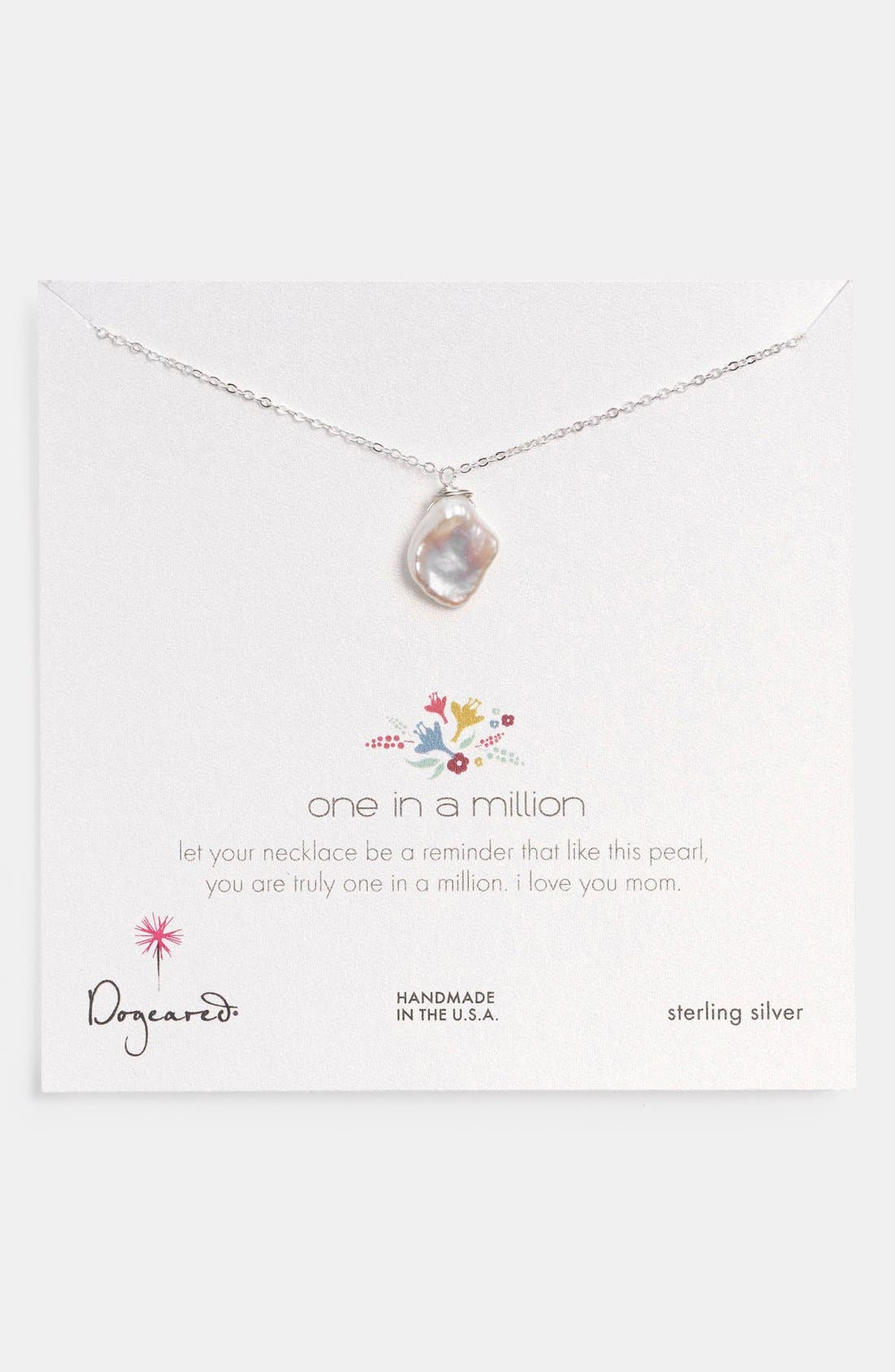 Main Image - Dogeared 'Reminder - One in a Million' Keishi Pearl Pendant Necklace