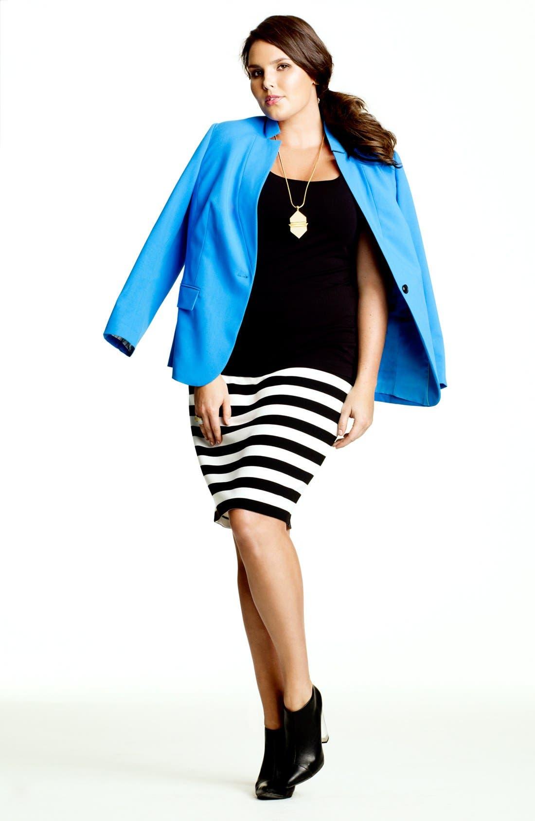Alternate Image 5  - Vince Camuto Stripe Pencil Skirt (Plus Size)