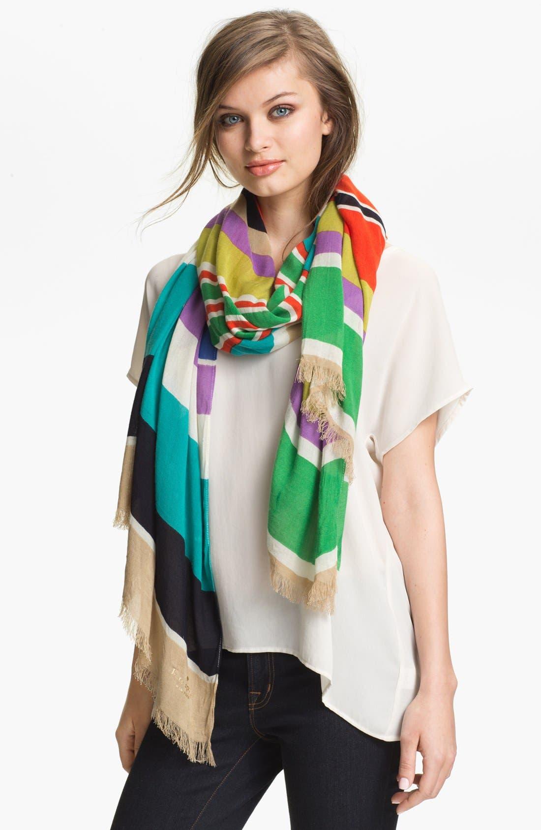 Main Image - kate spade new york 'picnic stripe' scarf