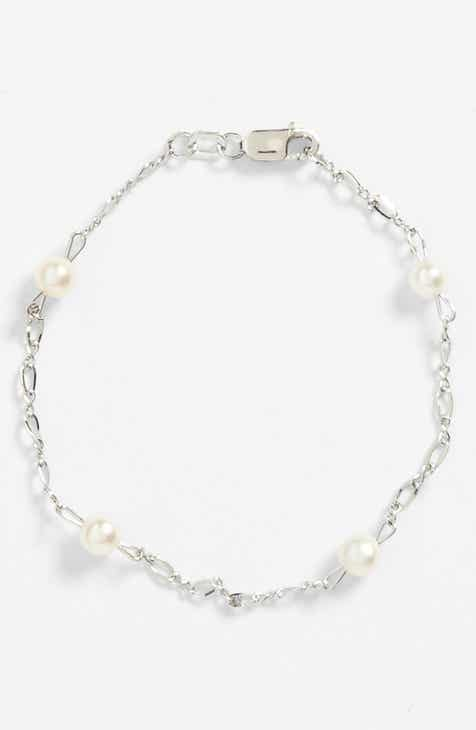 Sterling Silver Cultured Pearl Bracelet Infant