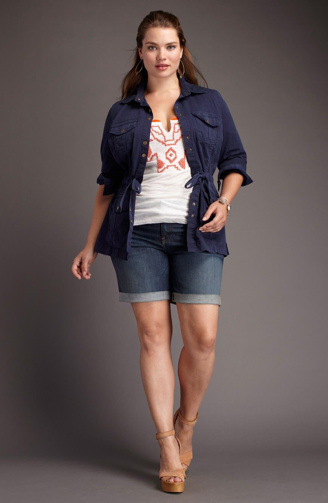 Alternate Image 2  - Lucky Brand 'Ginger' Frayed Denim Shorts (Plus Size)