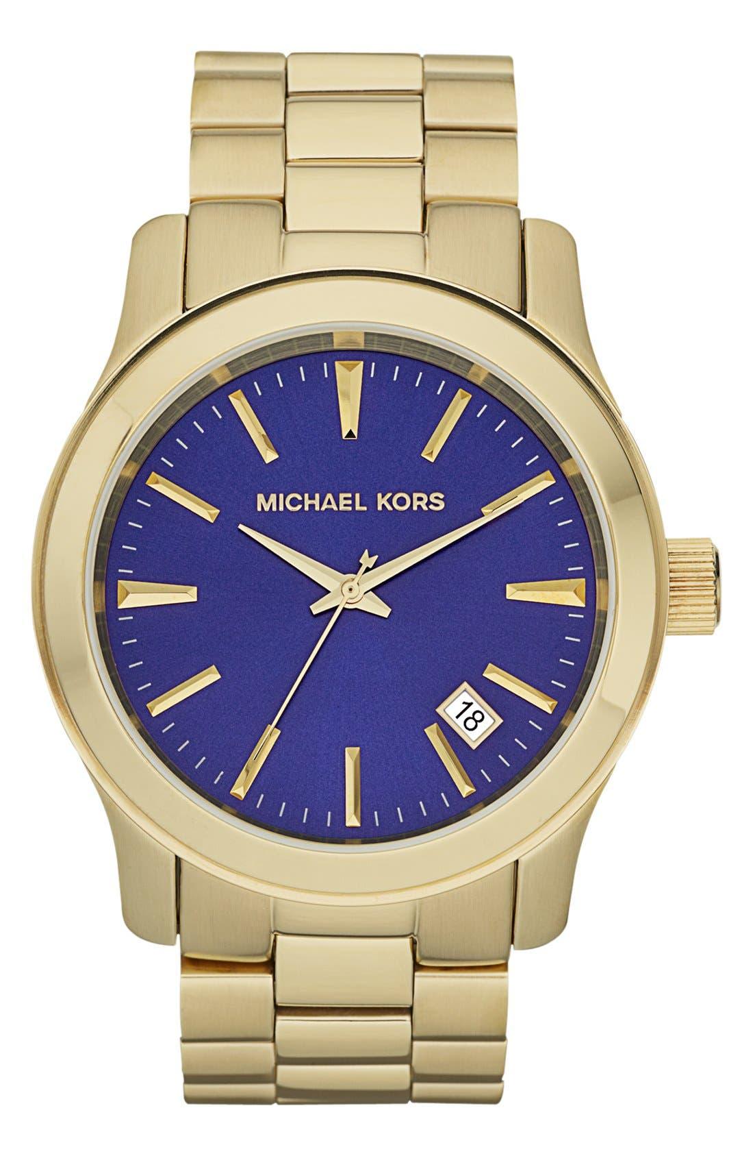 Main Image - Michael Kors 'Large Runway' Bracelet Watch, 44mm