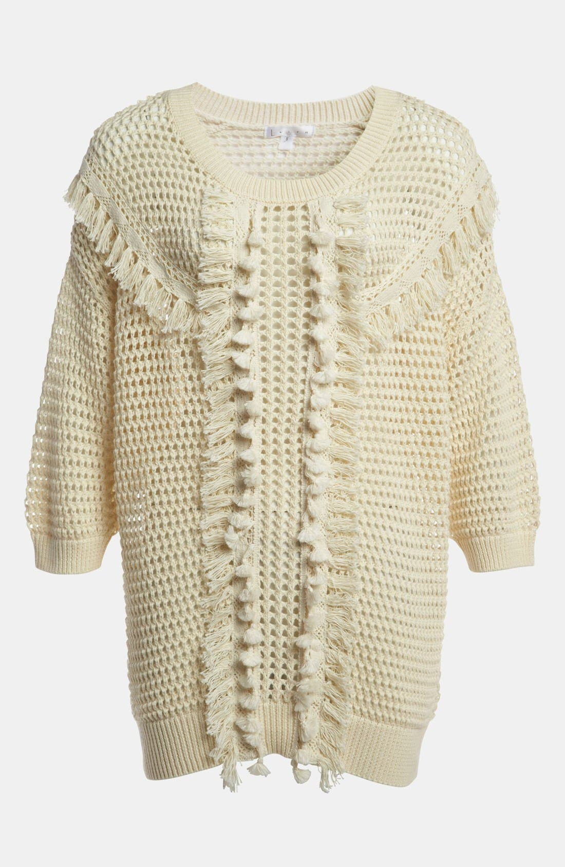 Alternate Image 1 Selected - Leith Crochet Trim Pullover
