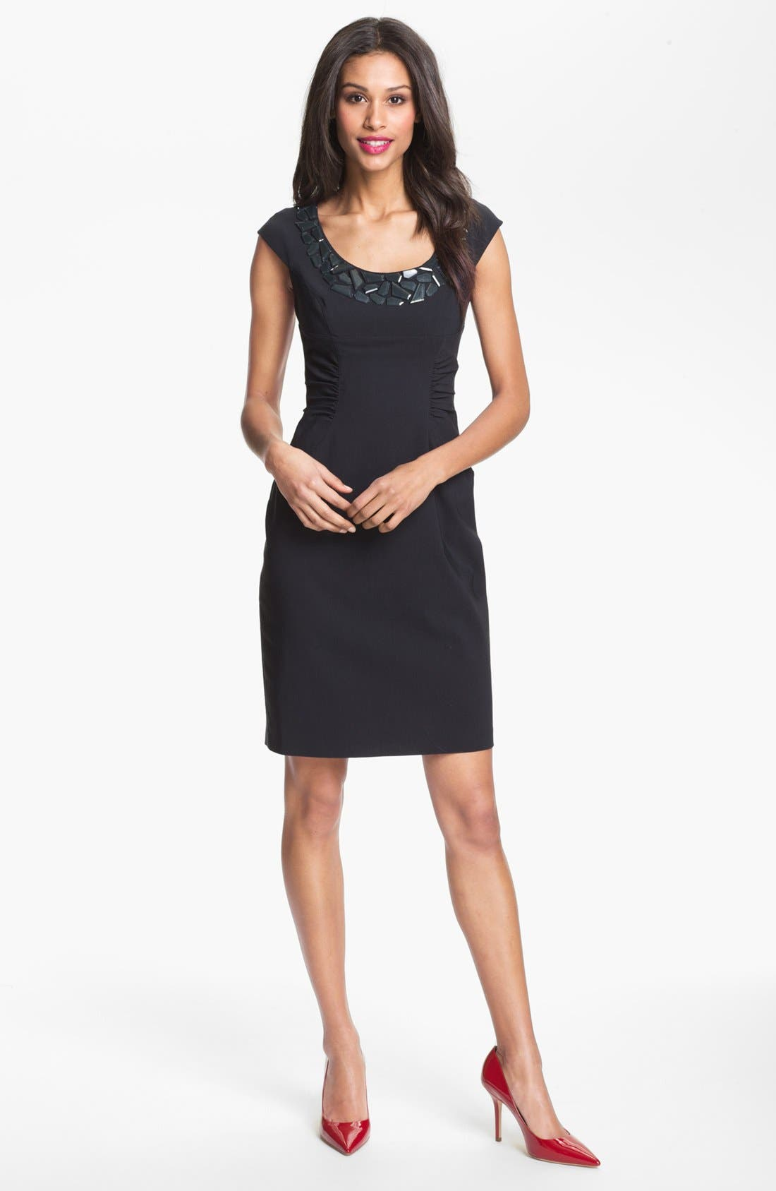 Alternate Image 1 Selected - Adrianna Papell Embellished Ruched Sheath Dress (Petite)