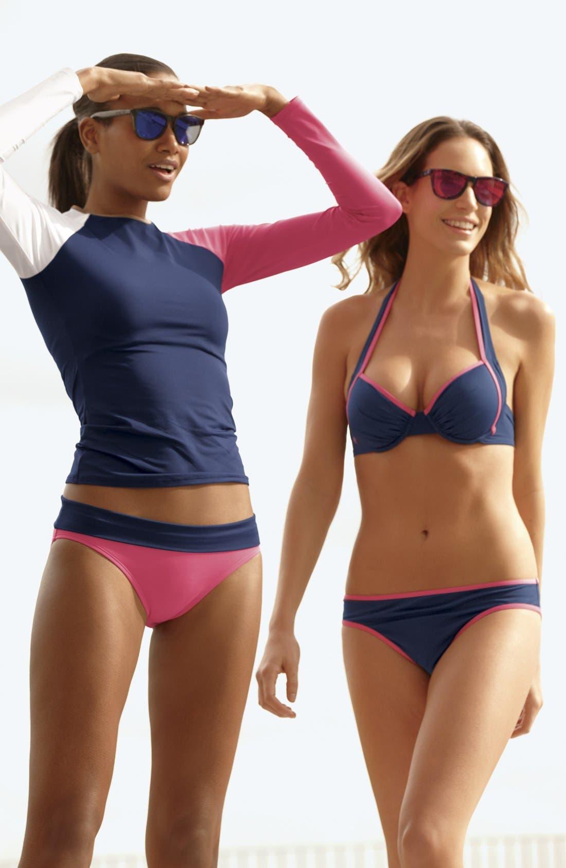 Alternate Image 3  - Tommy Bahama Rashguard & Bikini Bottoms, 'Deck Piping' Bikini Top & Bottoms