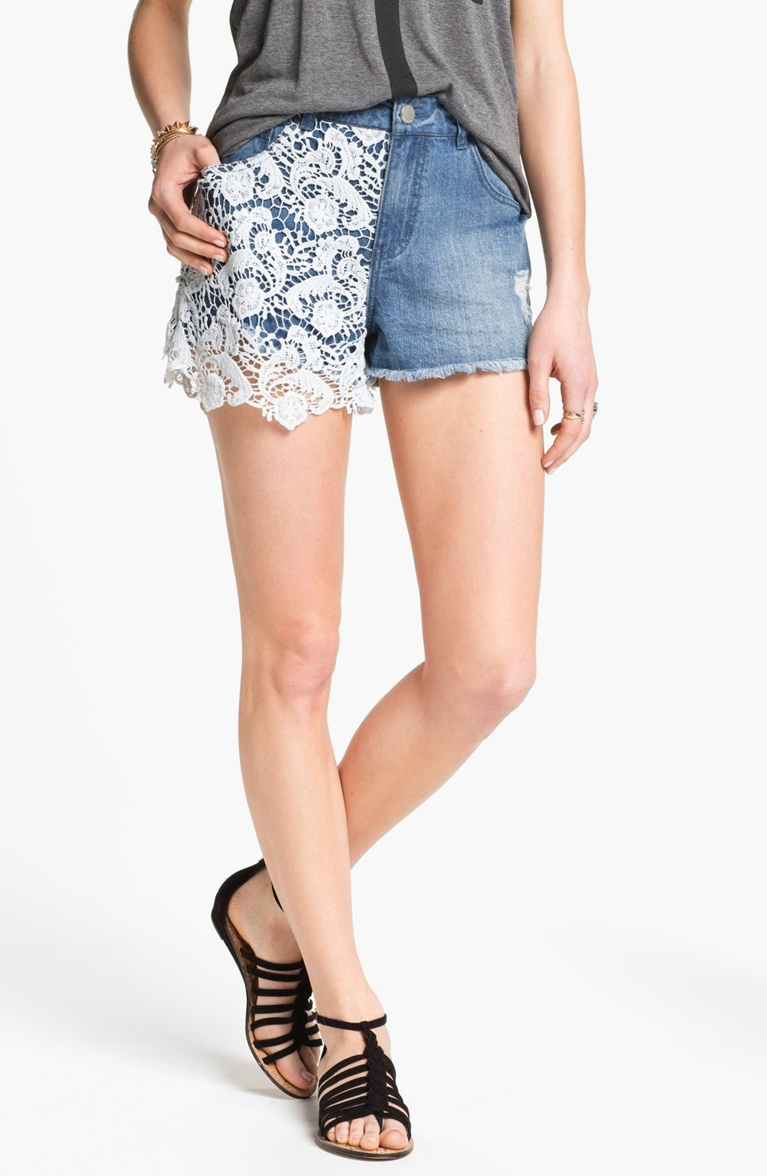 Alternate Image 1 Selected - Fire High Waist Lace Overlay Shorts (Juniors)