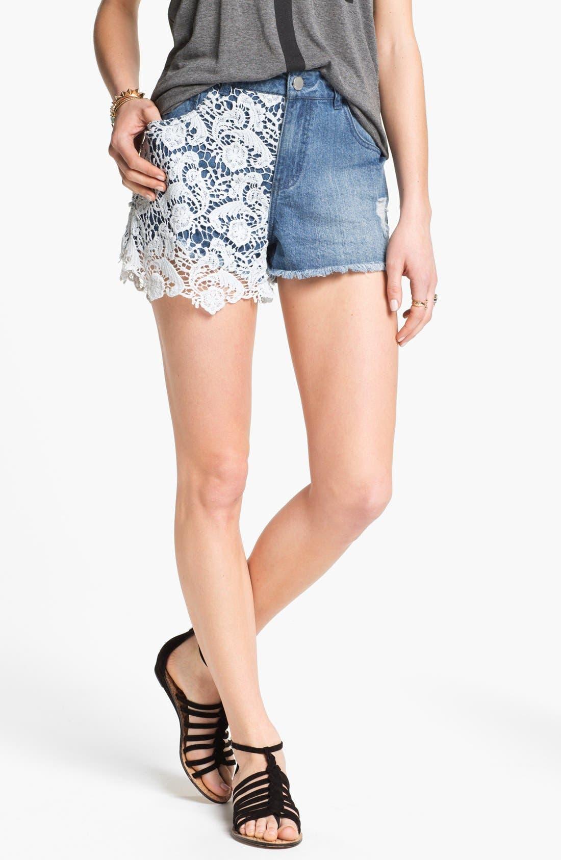 Main Image - Fire High Waist Lace Overlay Shorts (Juniors)