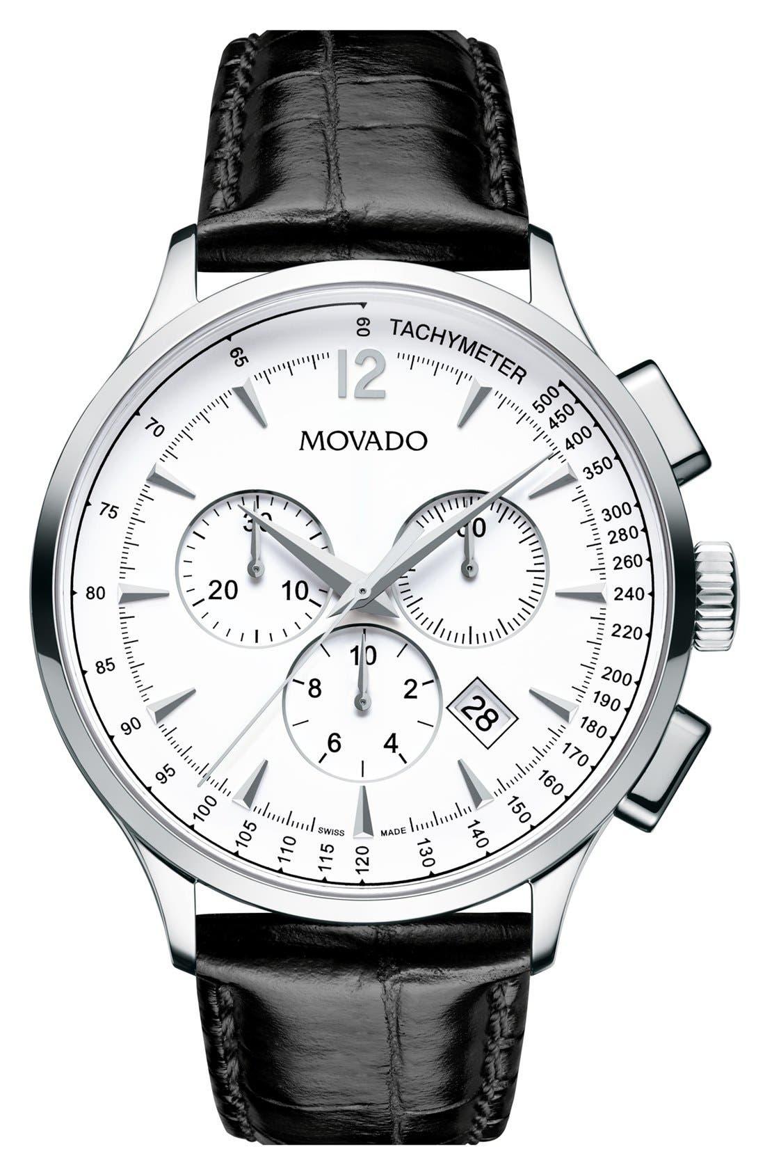 'Circa' Round Chronograph Watch, 42mm,                         Main,                         color, Black