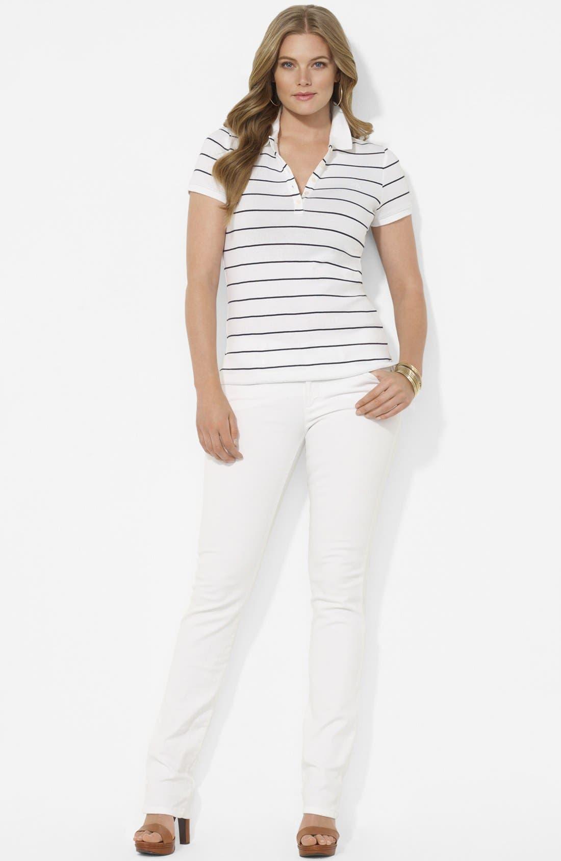 Alternate Image 2  - Lauren Ralph Lauren Stripe Polo (Plus)