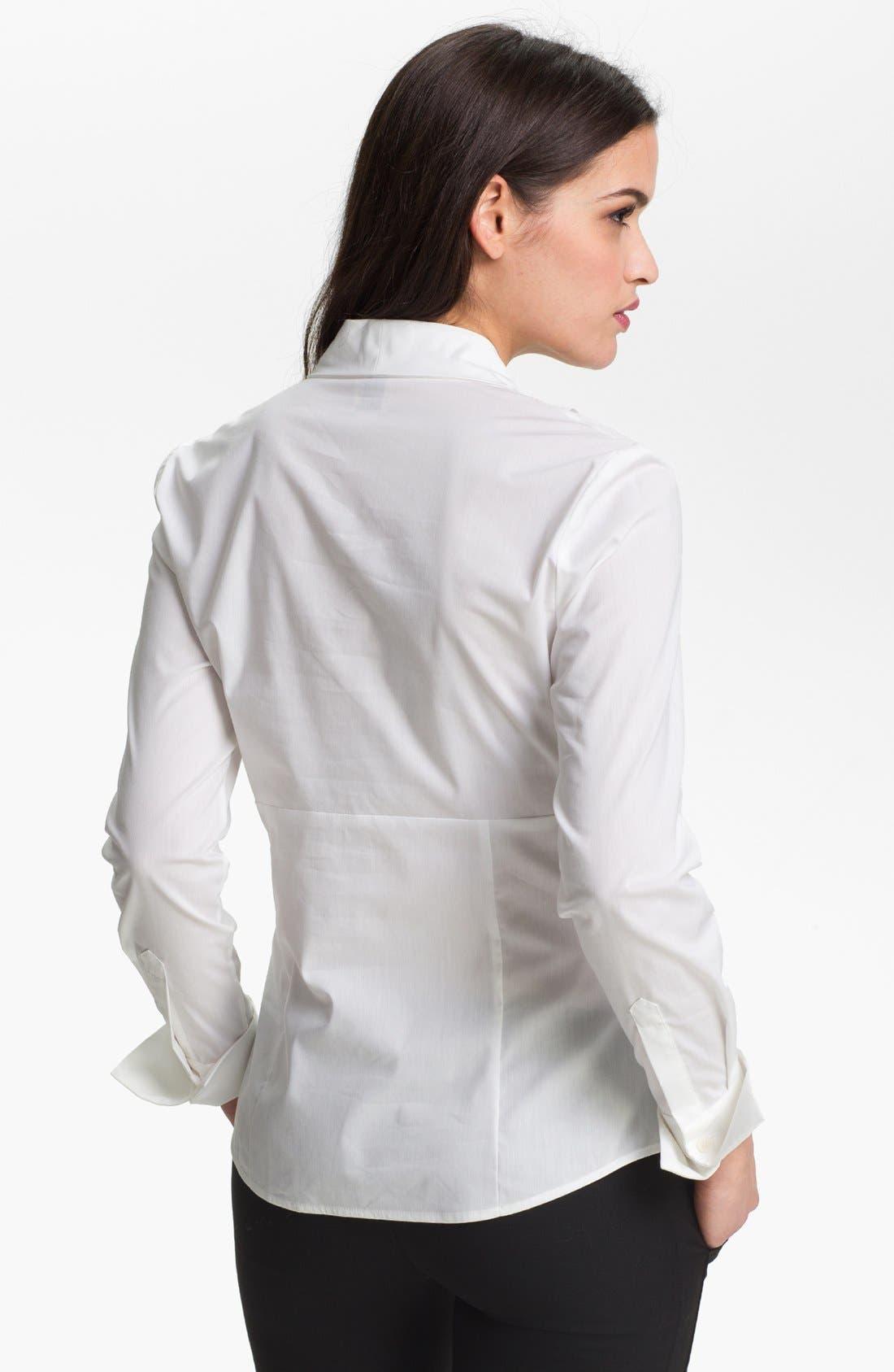 Alternate Image 2  - Anne Klein Pleated V-Neck Shirt (Petite)