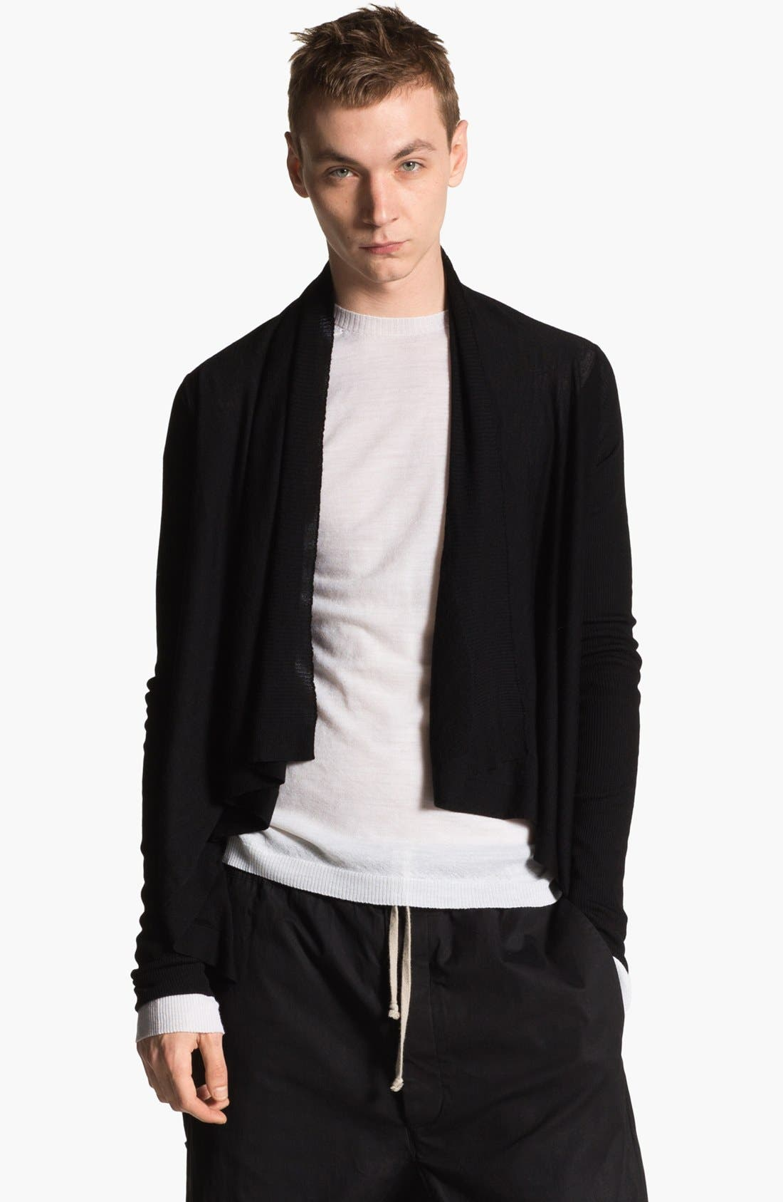 Main Image - Rick Owens 'Island' Open Shawl Collar Sweater
