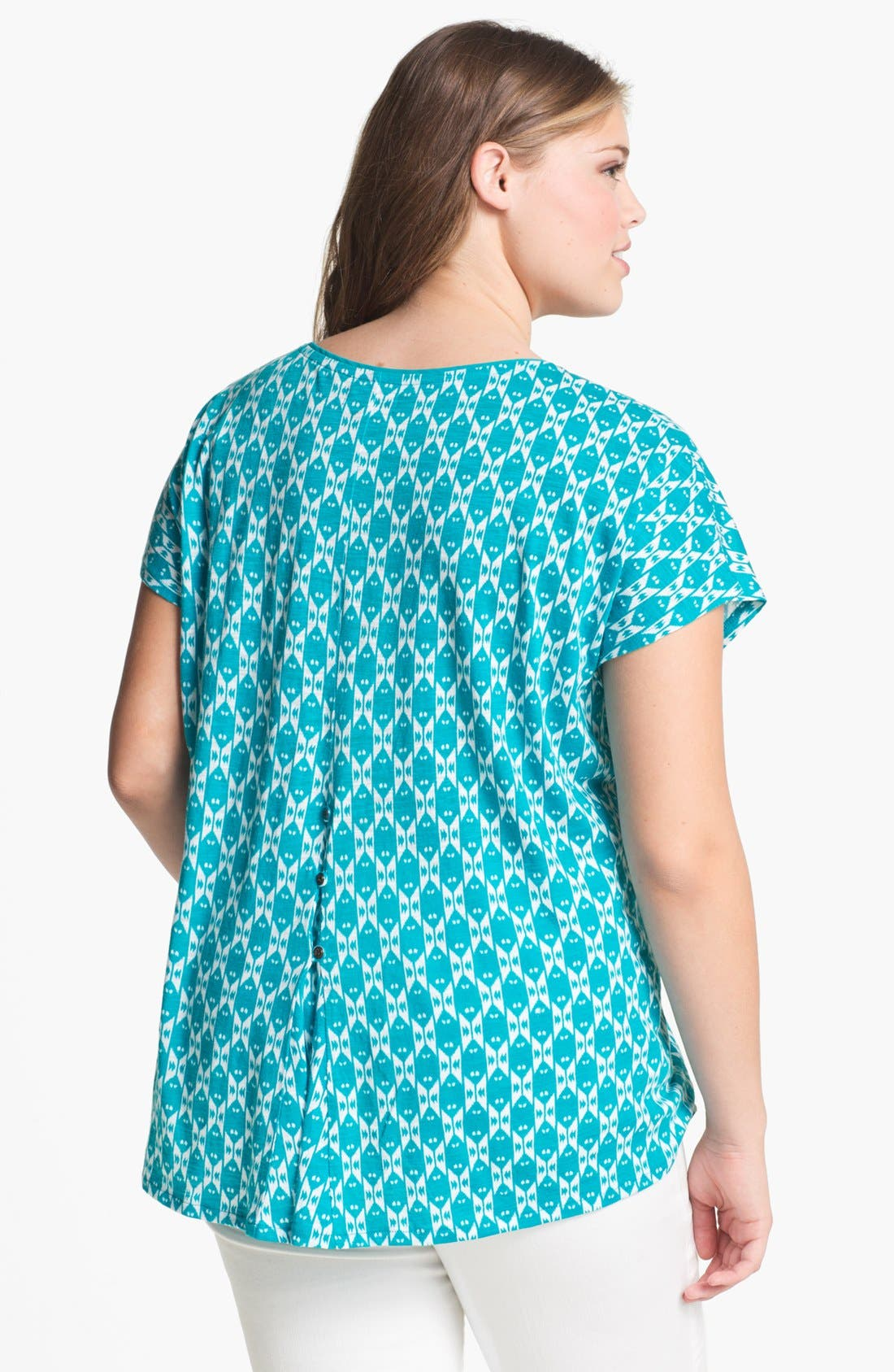Alternate Image 2  - Lucky Brand 'Carina' Ikat Print Top (Plus Size)