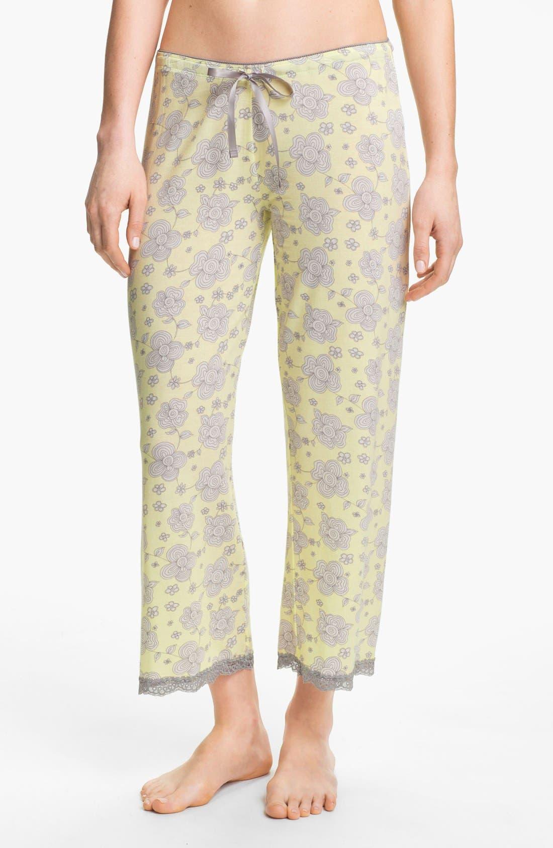 Alternate Image 1 Selected - PJ Salvage Floral Knit Crop Lounge Pants