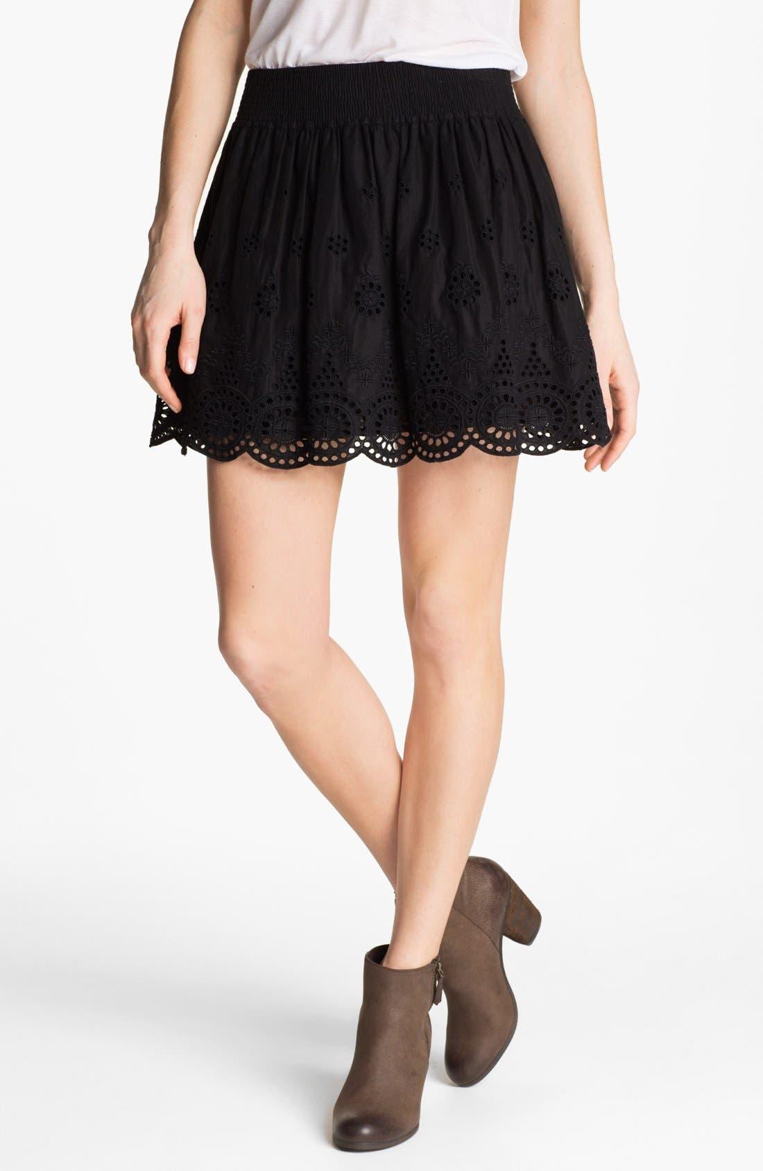 Eyelet Embroidered Skirt,                         Main,                         color, Black