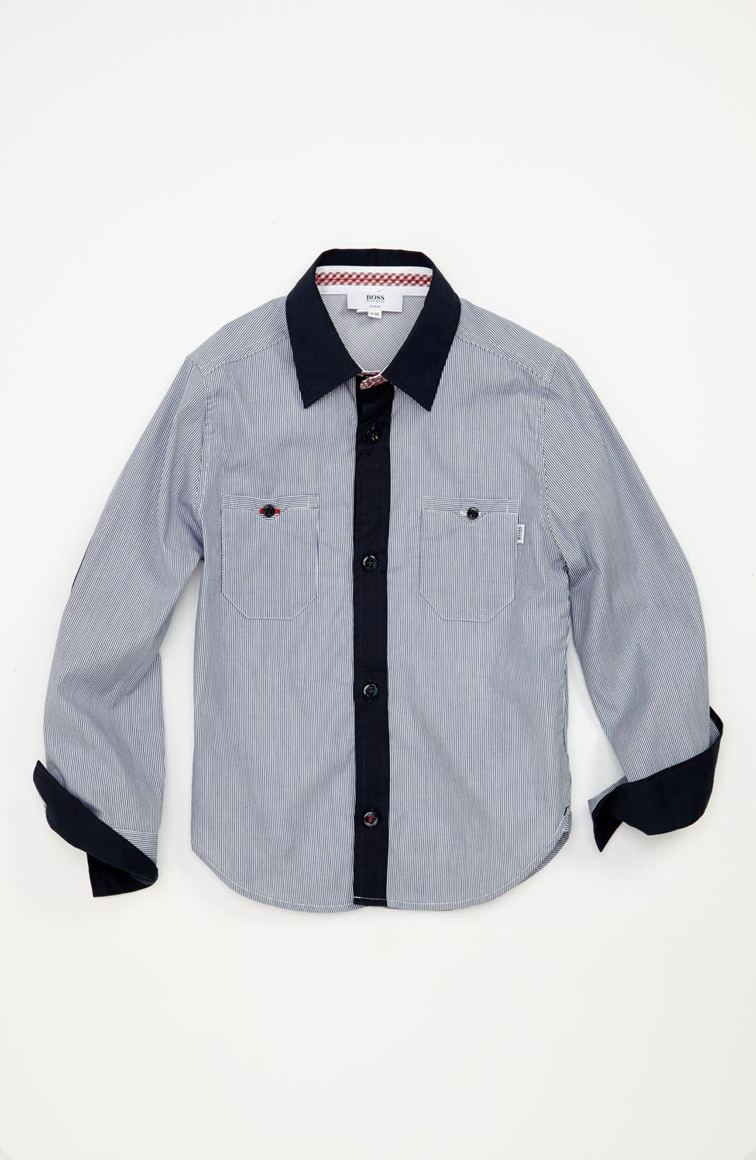 Alternate Image 1 Selected - BOSS Kidswear Stripe Woven Shirt (Little Boys & Big Boys)