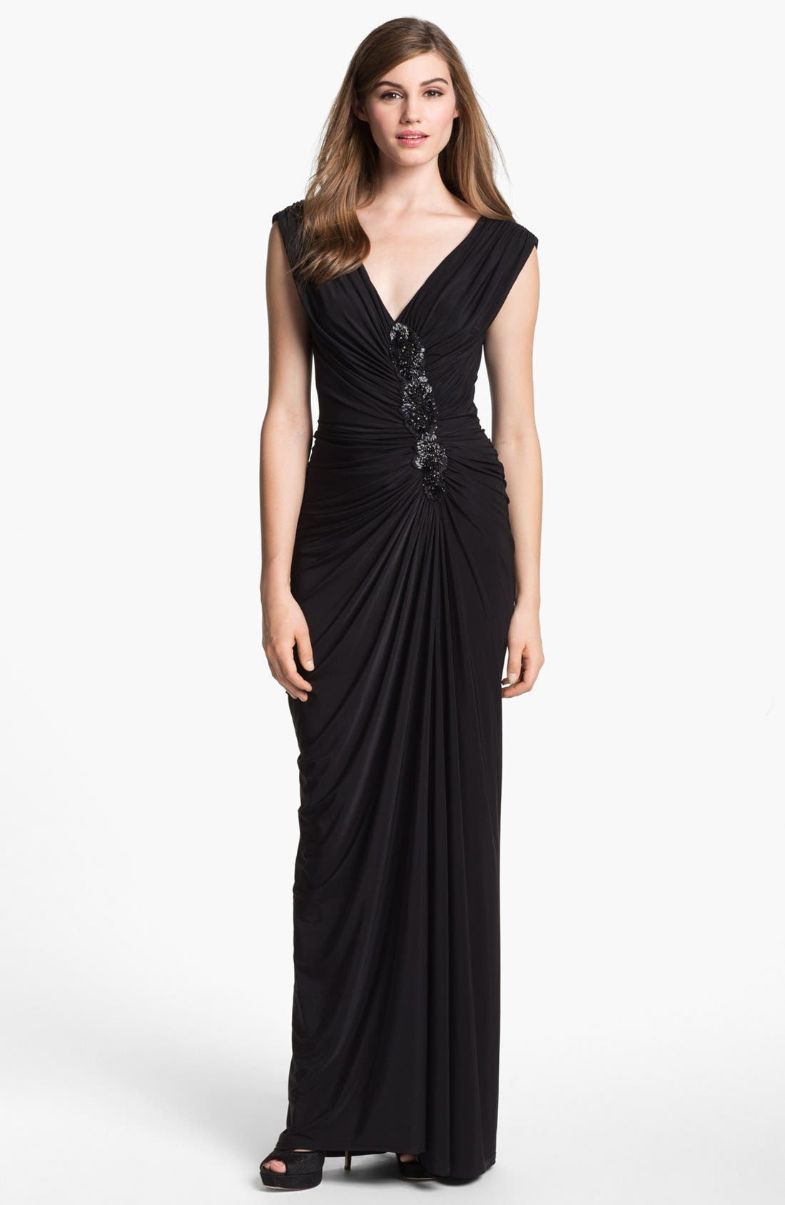 Alternate Image 1 Selected - Tadashi Shoji Embellished Ruched Gown
