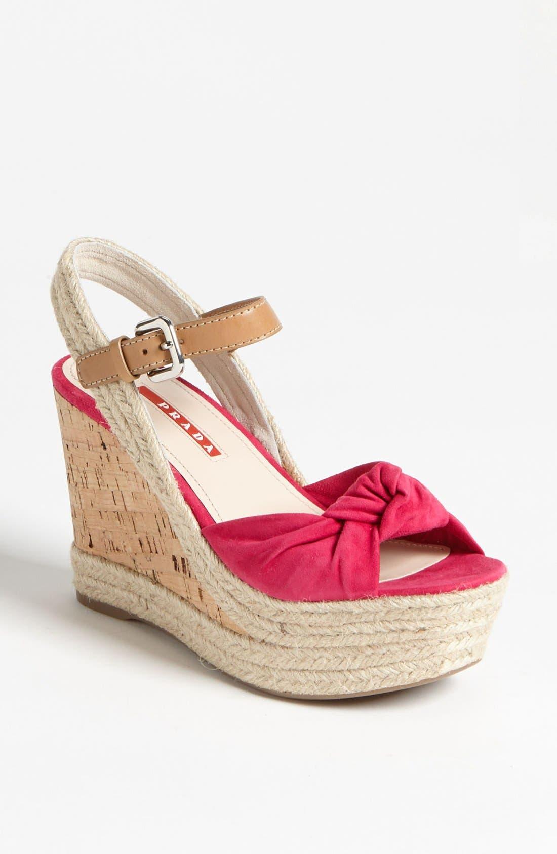 Alternate Image 1 Selected - Prada Knot Wedge Sandal