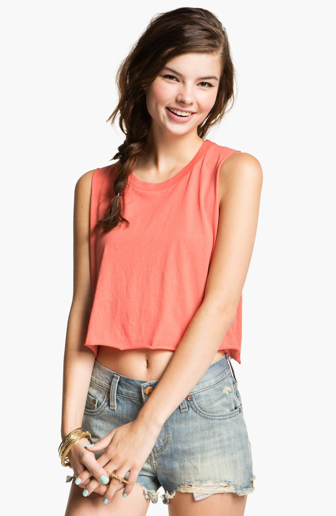 Alternate Image 1 Selected - Project Social T Shredded Crop Muscle Tee (Juniors)