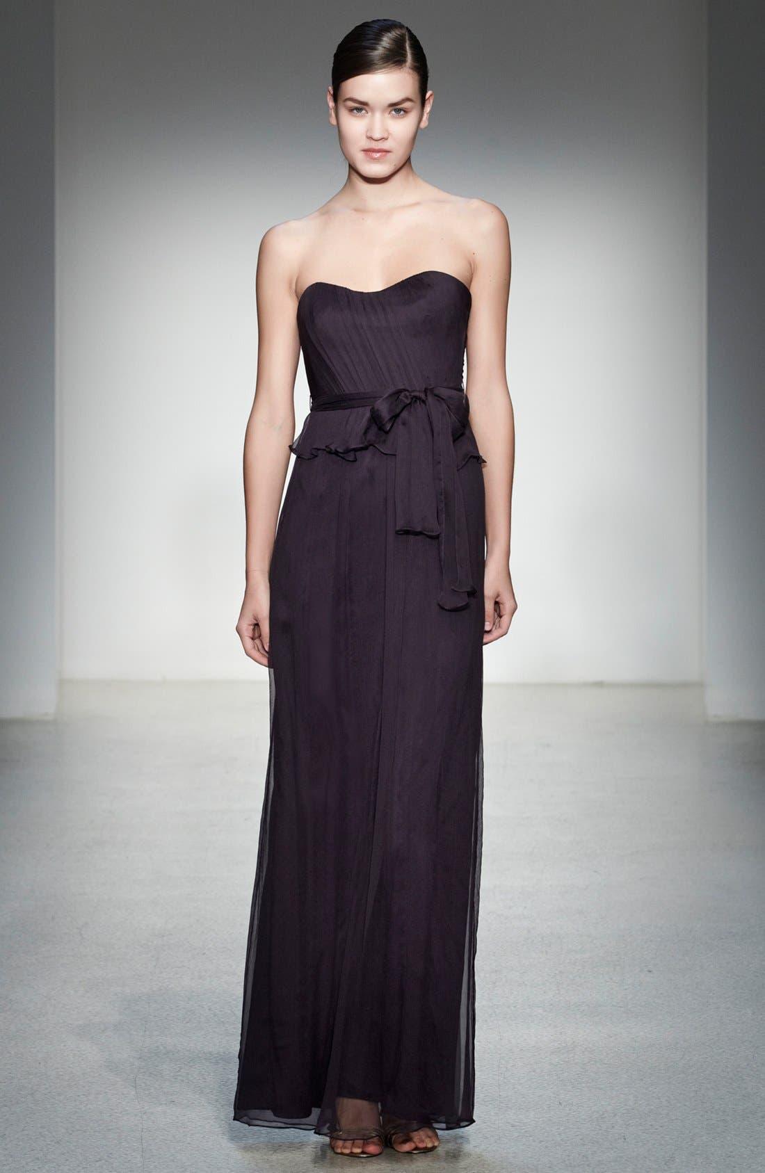 Alternate Image 4  - Amsale Crinkled Silk Chiffon Peplum Gown