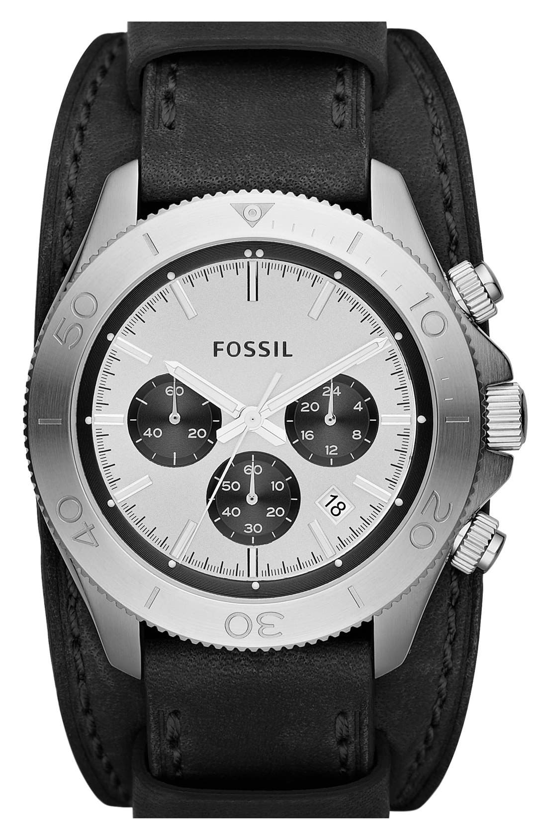 Main Image - Fossil 'Retro Traveler' Chronograph Leather Cuff Watch, 45mm