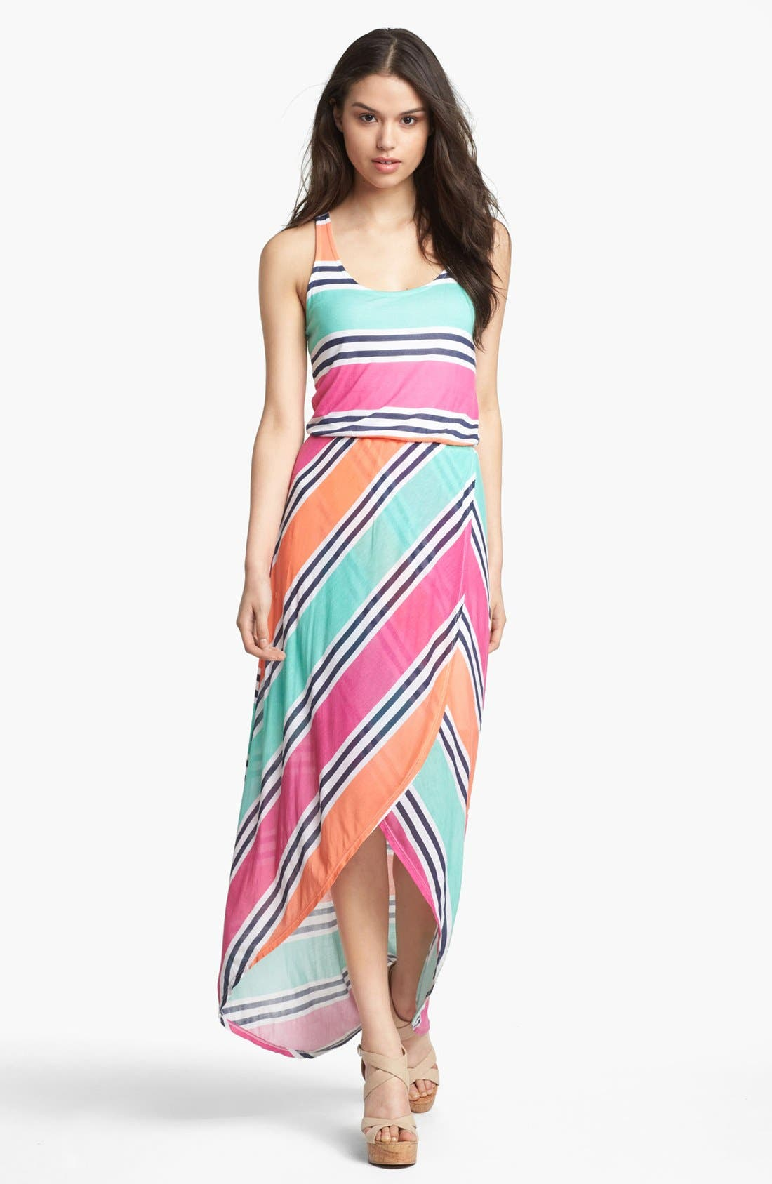 Main Image - Splendid Stripe Faux Wrap Maxi Dress