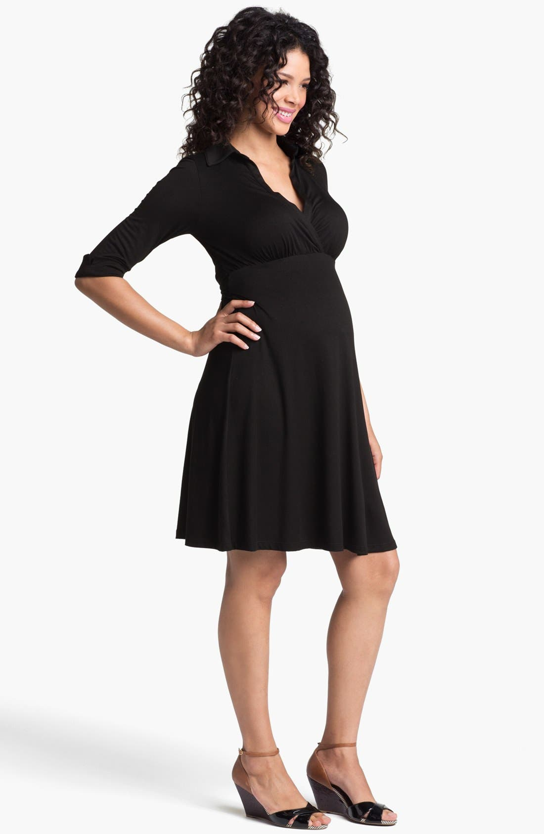 Maternity Shirtdress,                         Main,                         color, Black