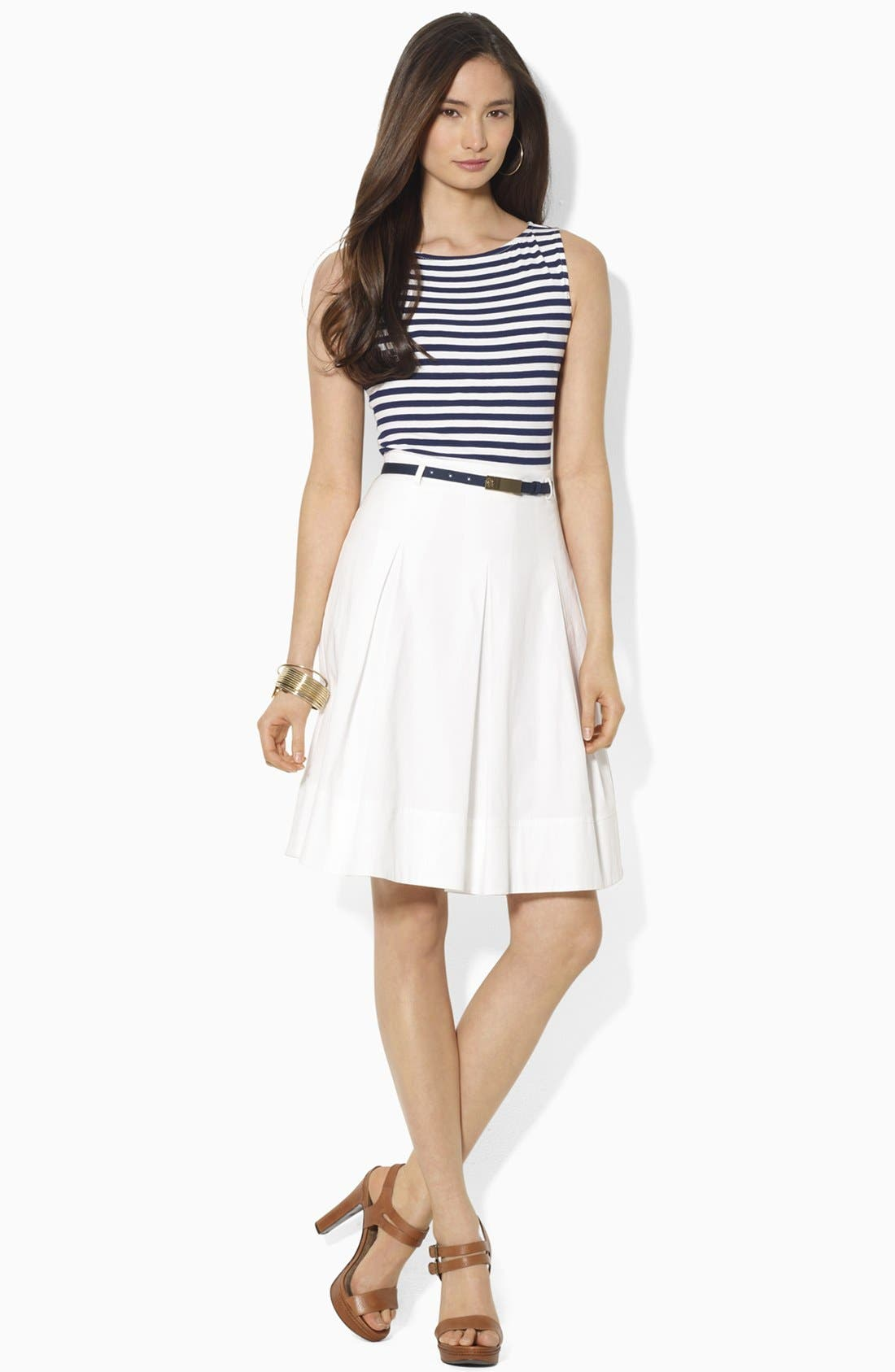 Alternate Image 1 Selected - Lauren Ralph Lauren Mock Two-Piece Dress (Petite)