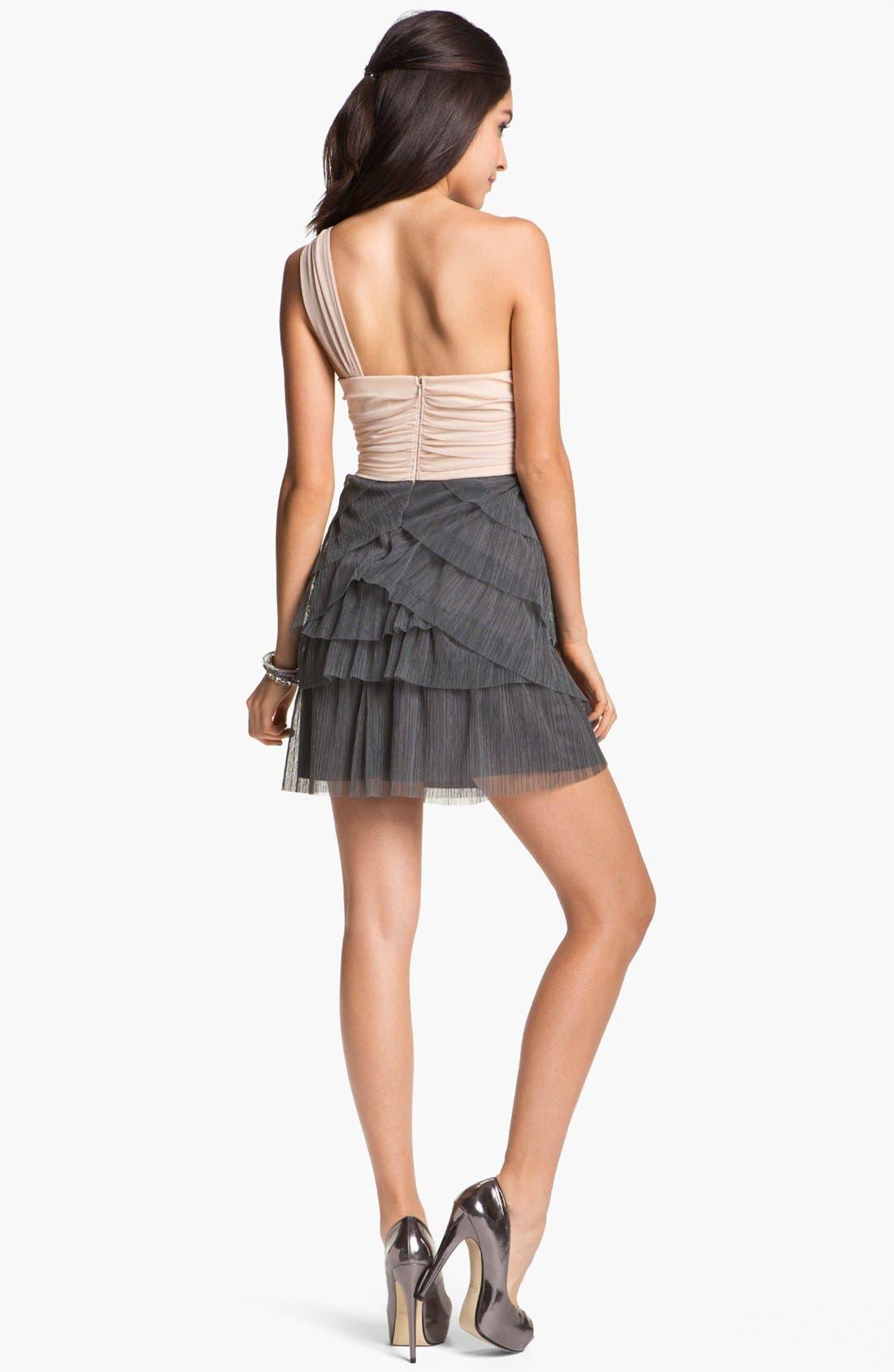 Alternate Image 2  - Way-In One Shoulder Chiffon Dress (Juniors)