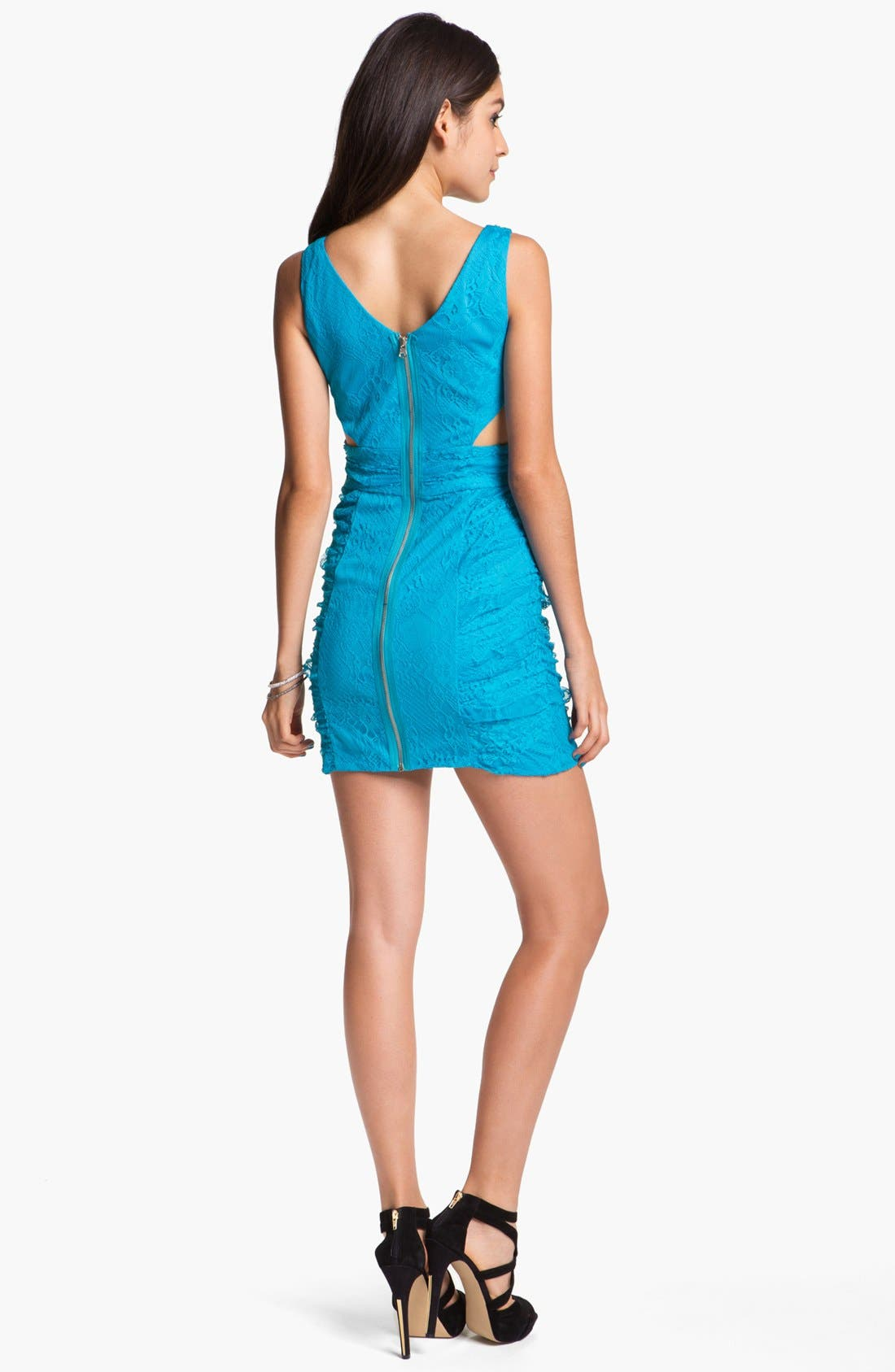 Alternate Image 2  - Hailey Logan Cutout Lace Body-Con Dress (Juniors)