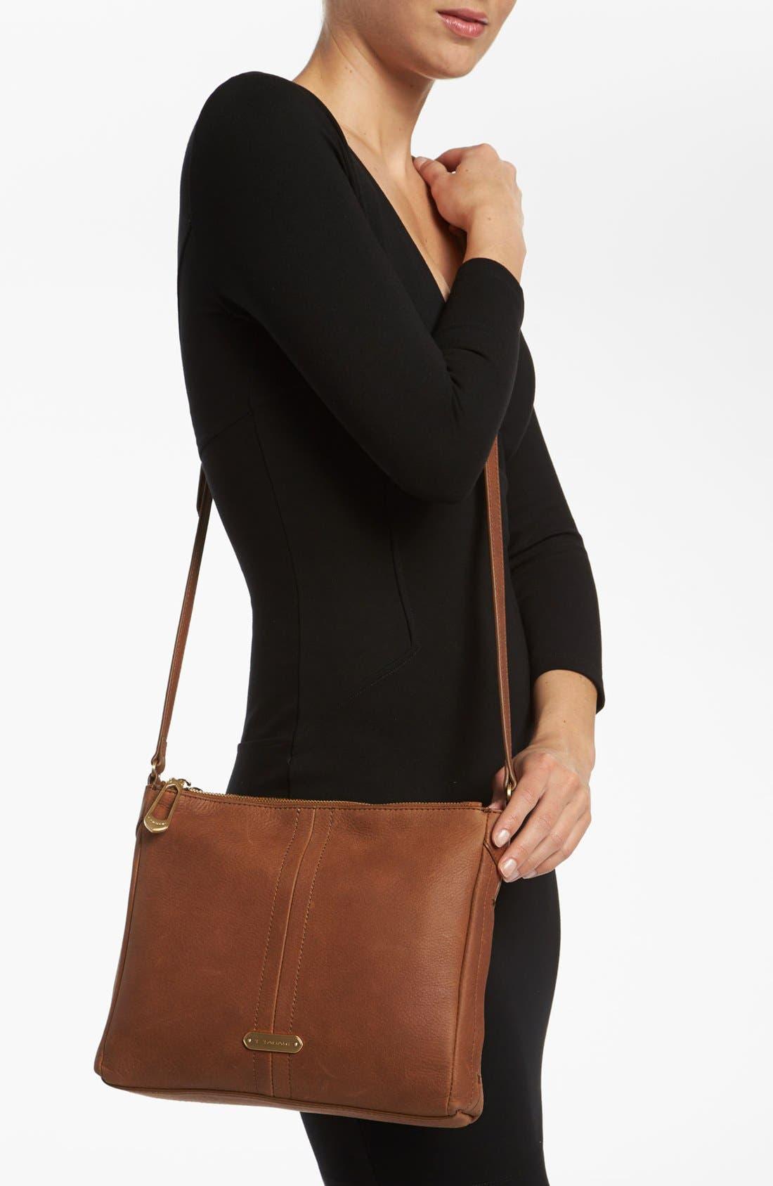 Alternate Image 2  - T Tahari Pleated Double Zip Leather Crossbody Bag