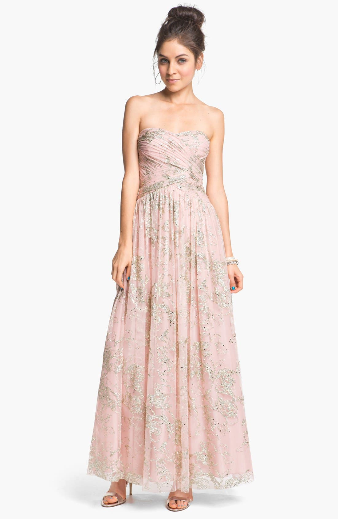 Main Image - Hailey by Adrianna Papell Glitter Tulle Ball Gown (Online Only)