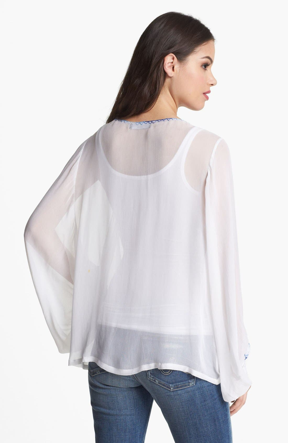 Embroidered Blouson Sleeve Top,                             Alternate thumbnail 2, color,                             White
