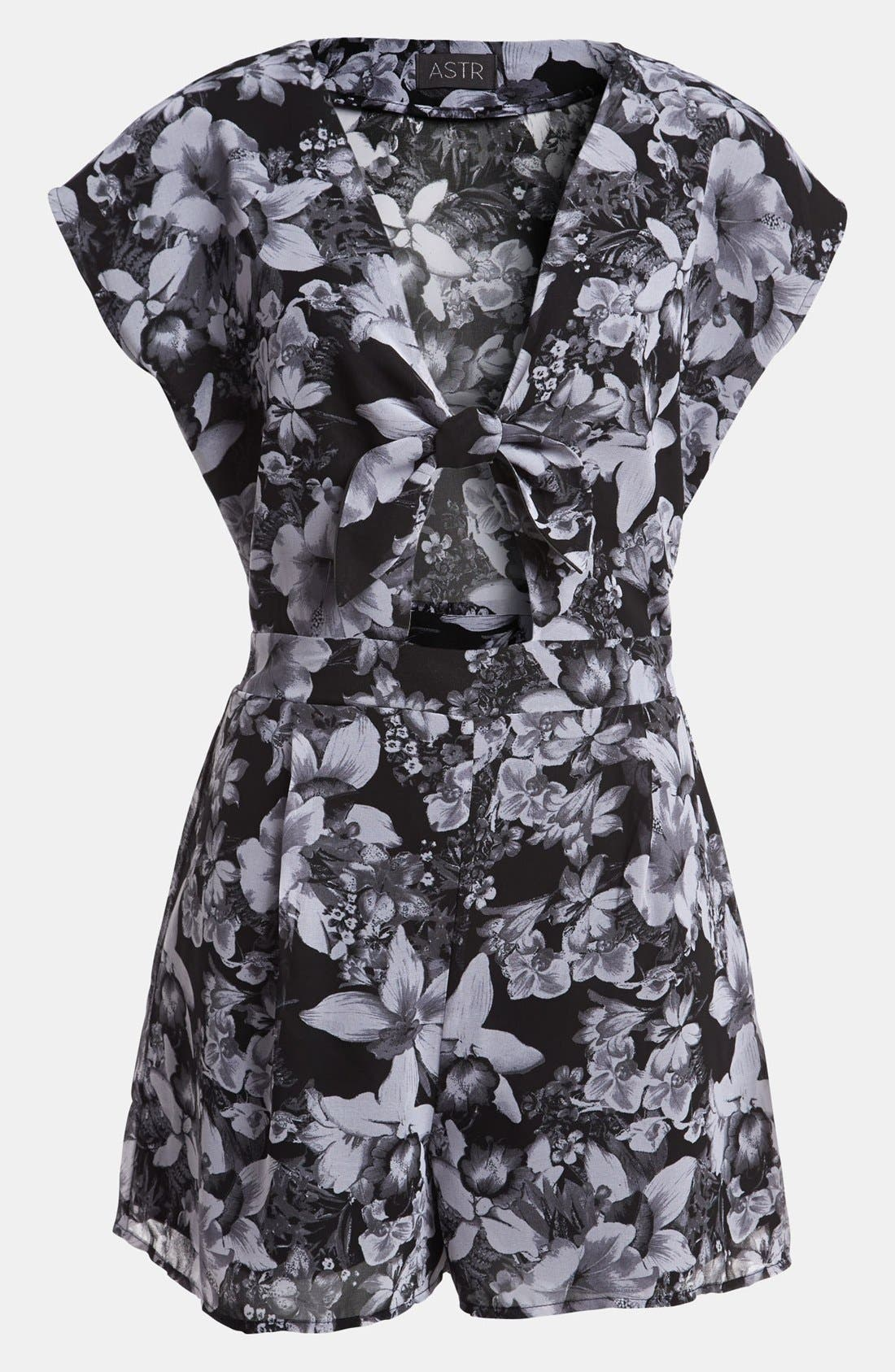 Main Image - ASTR Tie Front Floral Romper