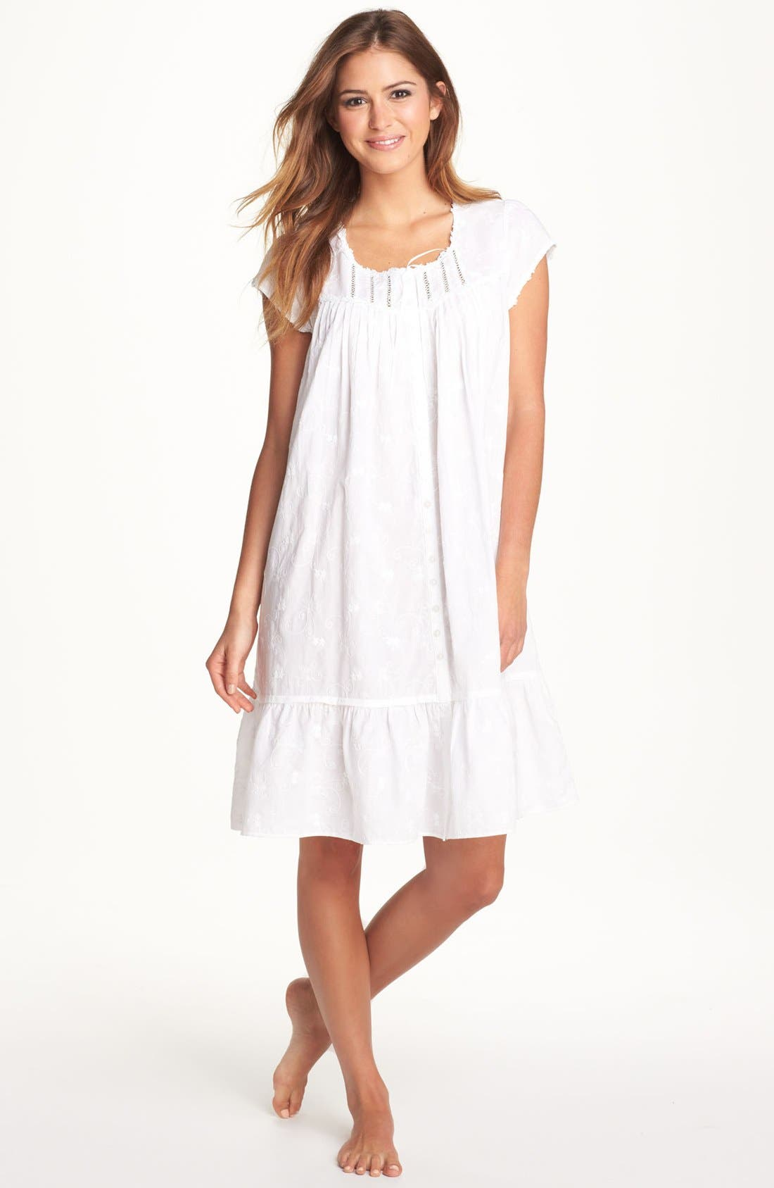 Main Image - Eileen West 'Breaking Waves' Embroidered Nightgown