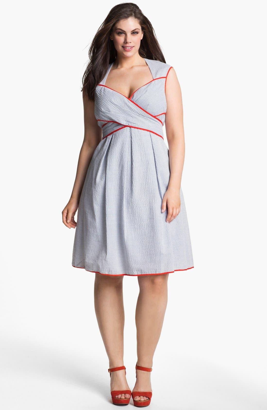 Cross Front Dress,                         Main,                         color, Blue