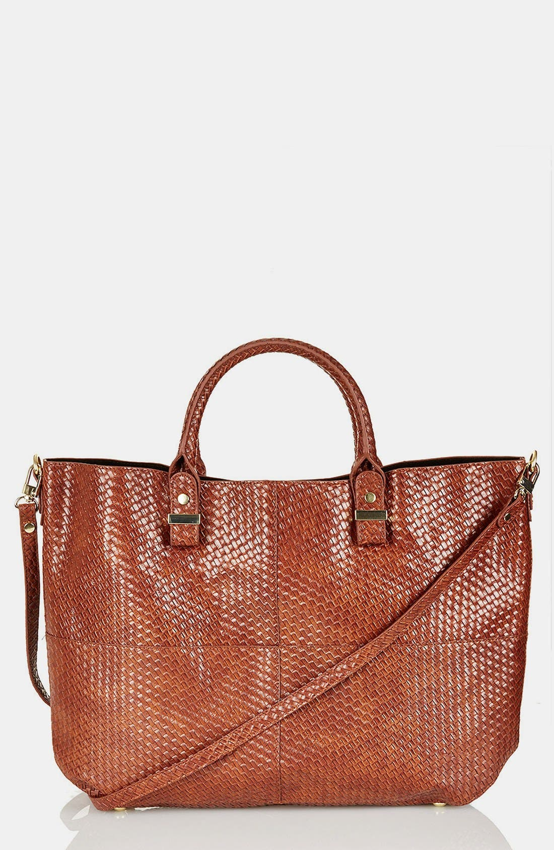 Main Image - Topshop 'Woven Lady' Faux Leather Tote, Extra Large