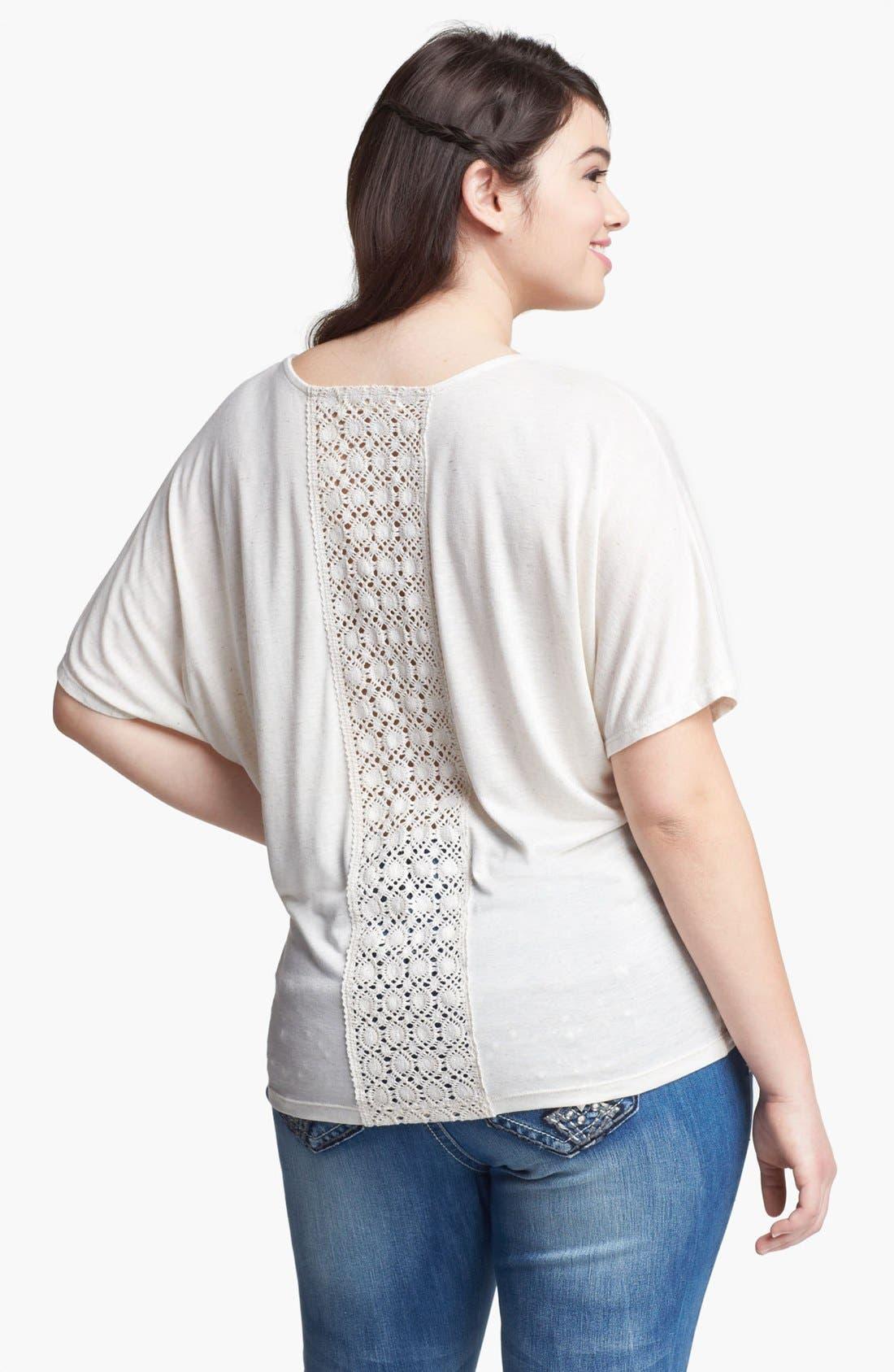Alternate Image 2  - Painted Threads Crochet Back Jersey Tee (Juniors Plus)