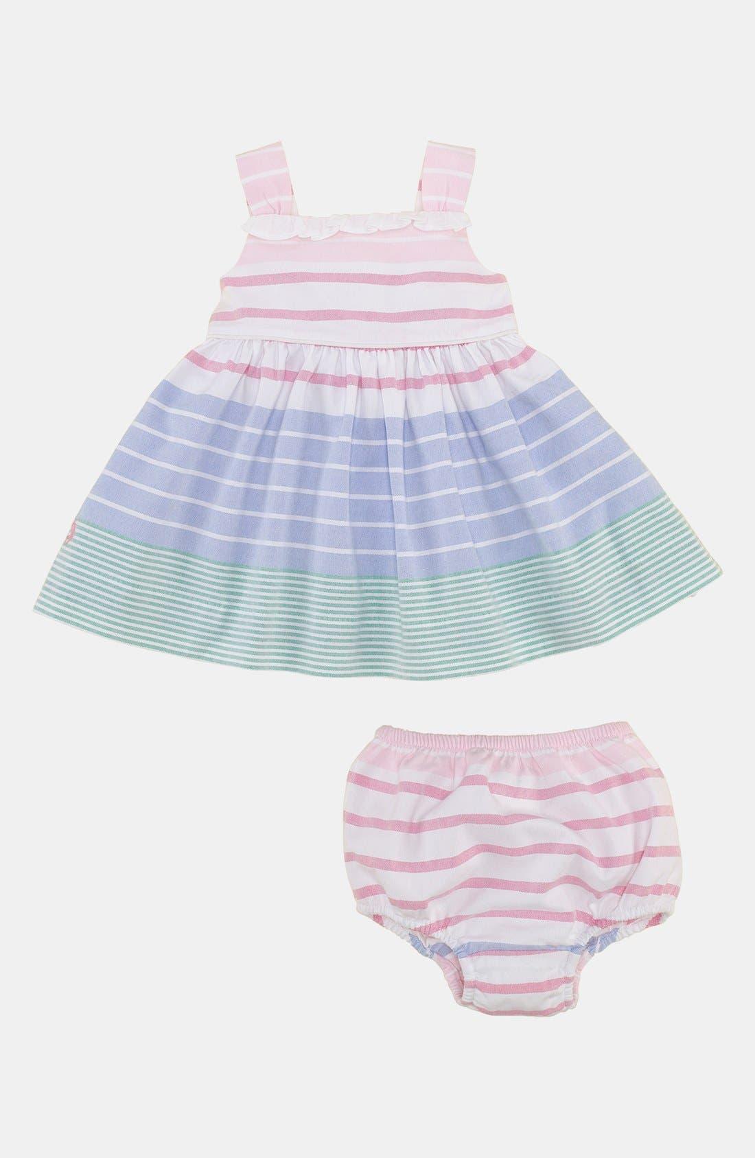 Alternate Image 2  - Ralph Lauren Stripe Dress & Bloomers (Infant)