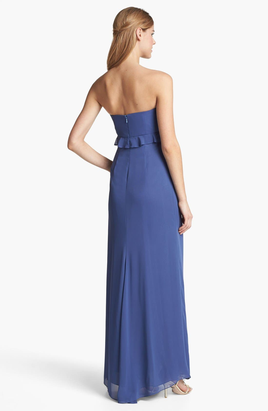 Alternate Image 2  - Jill Jill Stuart Strapless Ruffled Chiffon Gown