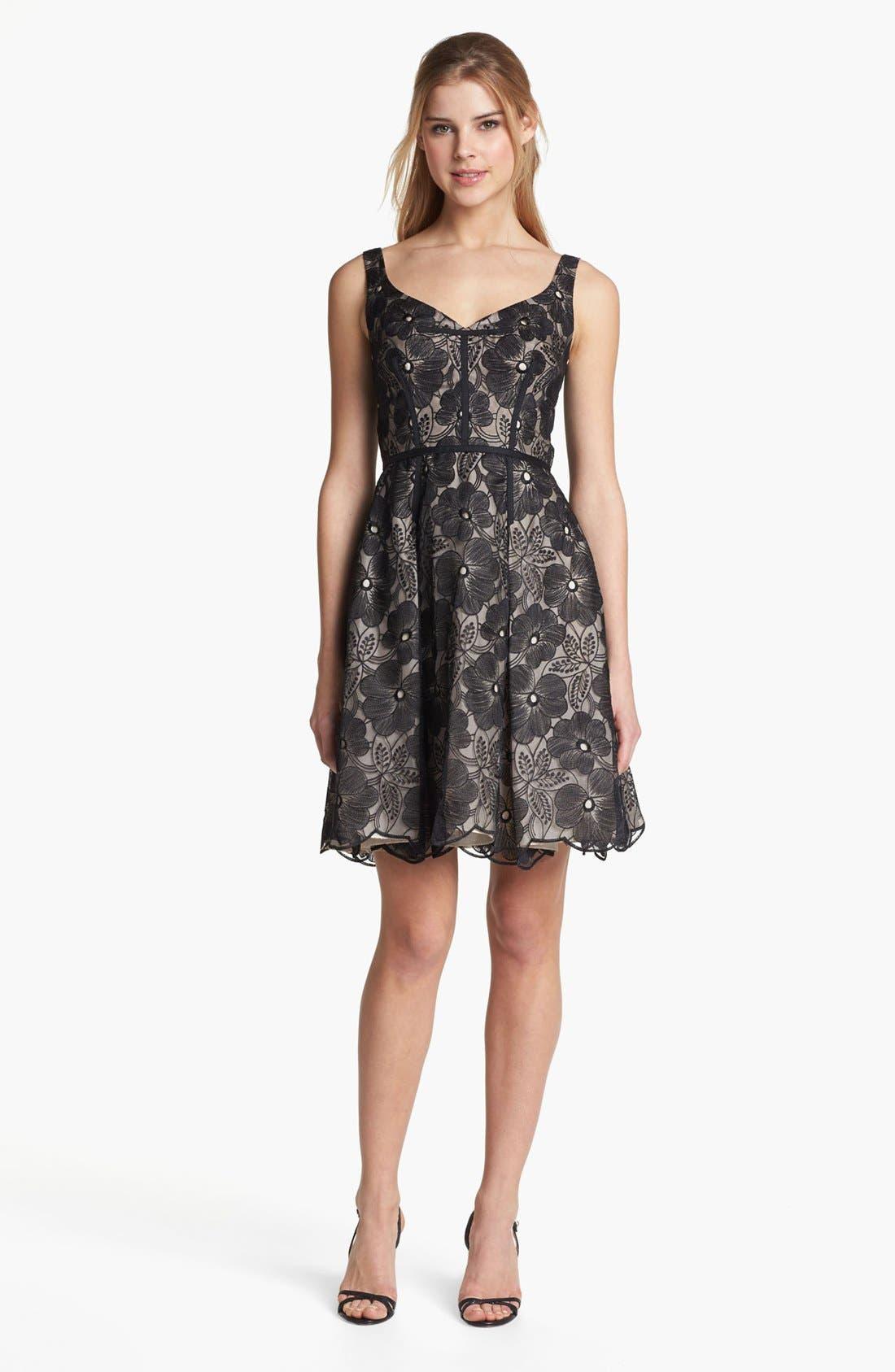 Main Image - Jill Jill Stuart Embroidered Organza Fit & Flare Dress
