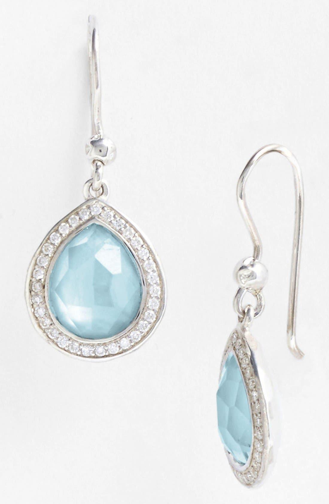 'Stella' Small Teardrop Earrings,                             Alternate thumbnail 2, color,                             Silver/ Blue Topaz