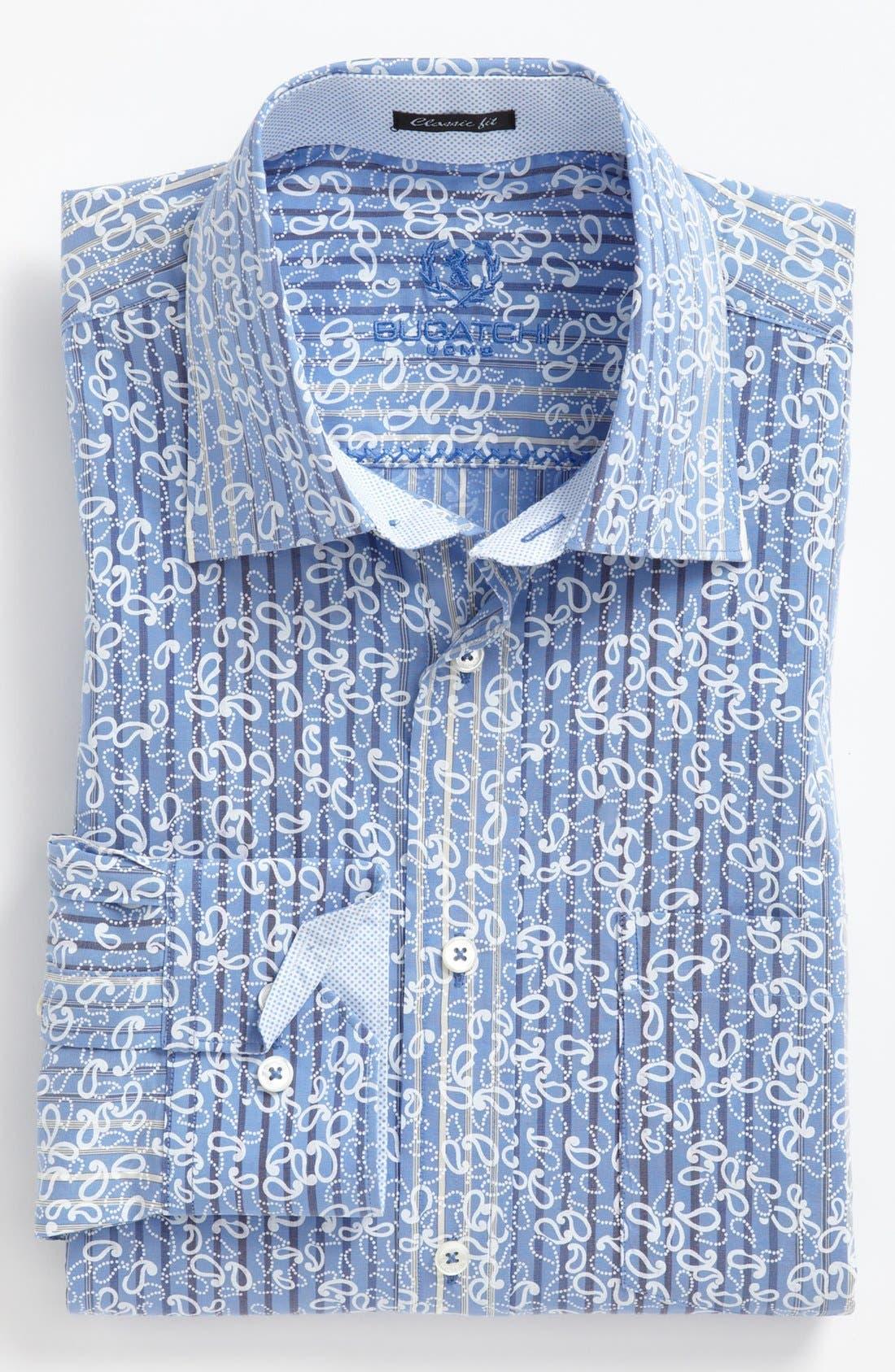 Alternate Image 2  - Bugatchi Striped Paisley Classic Fit Cotton Sport Shirt