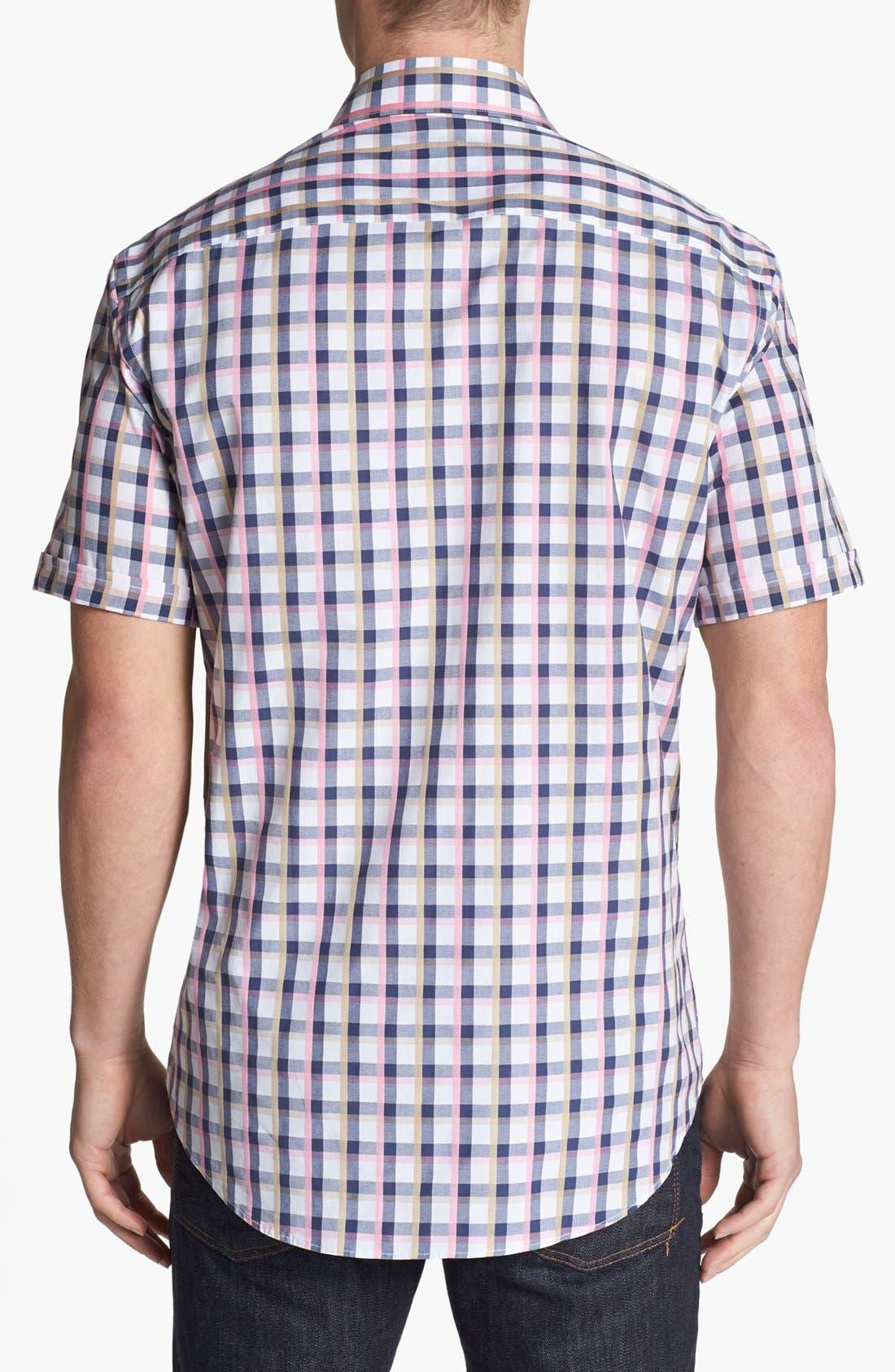 Alternate Image 2  - Bugatchi Short Sleeve Shaped Fit Sport Shirt