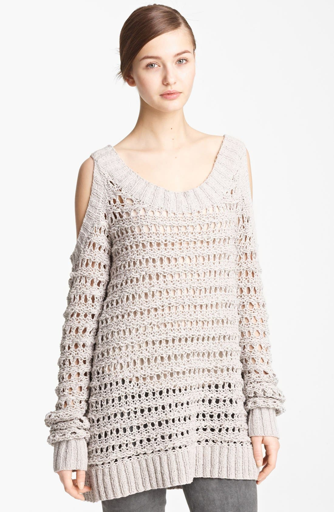 Donna Karan Collection Cold Shoulder Sweater,                             Main thumbnail 1, color,                             Cement