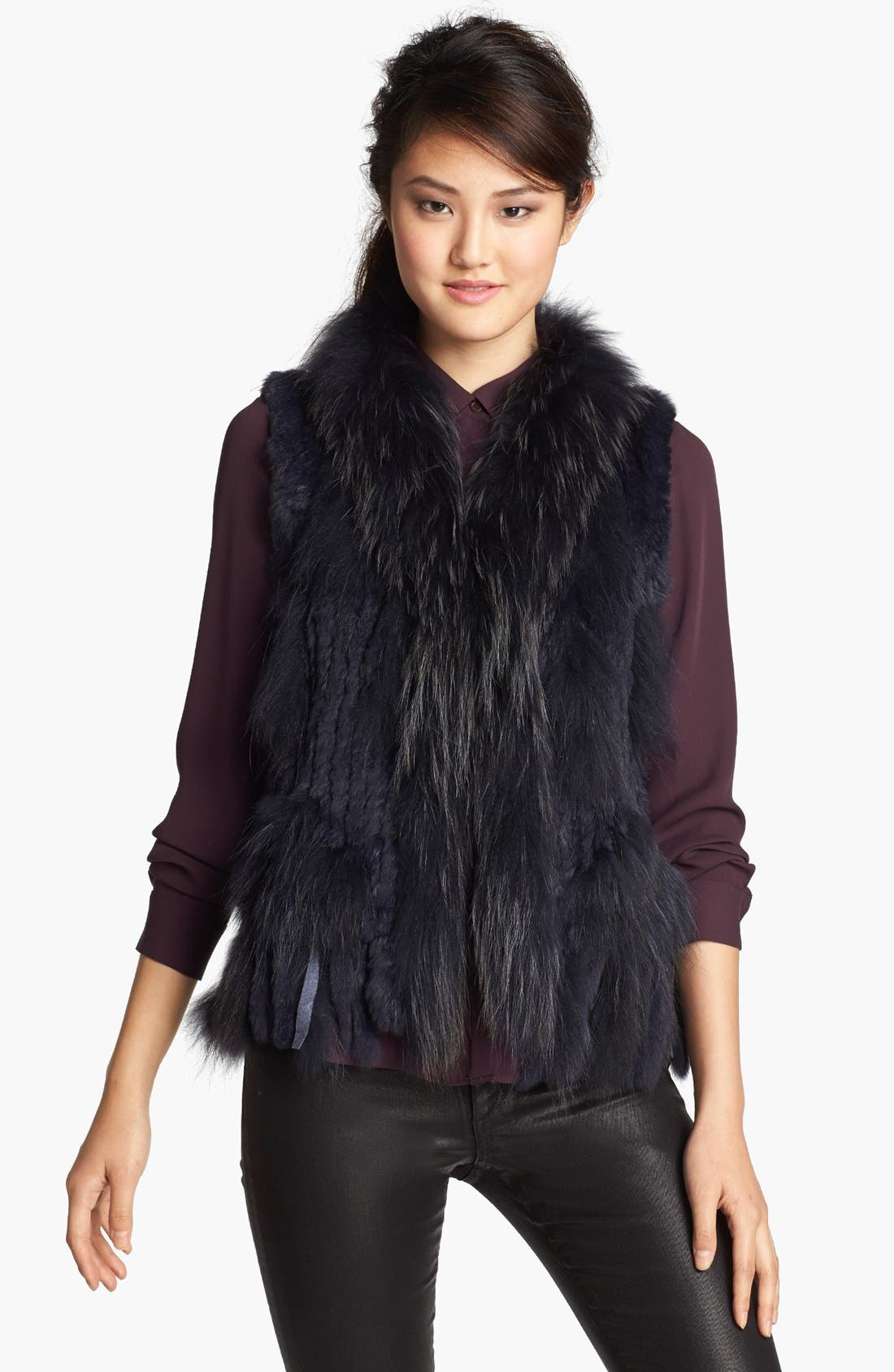Genuine Rabbit & Raccoon Fur Vest,                         Main,                         color, Indigo