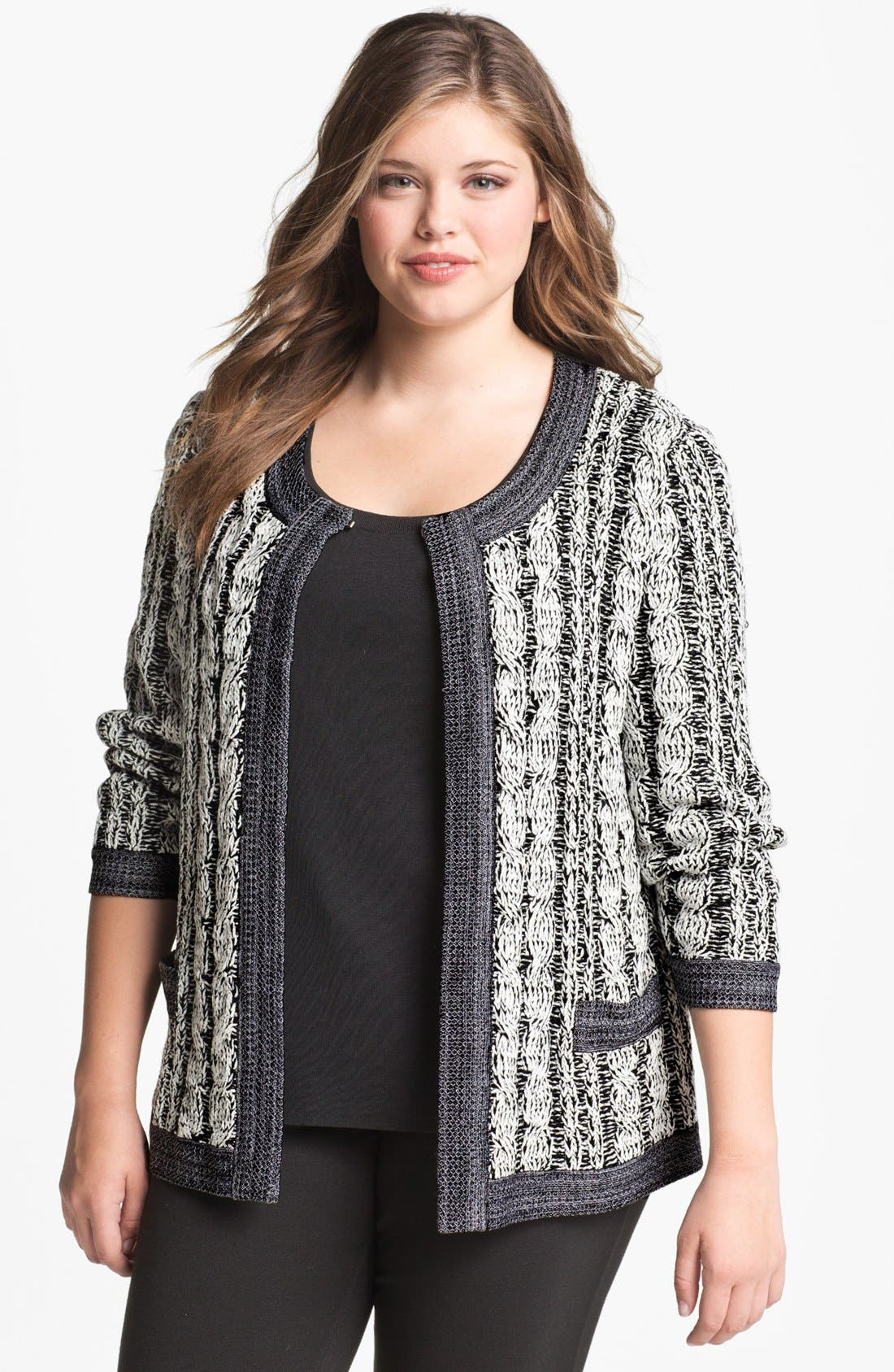 Alternate Image 1 Selected - Exclusively Misook 'Rena' Sweater Jacket (Plus Size)
