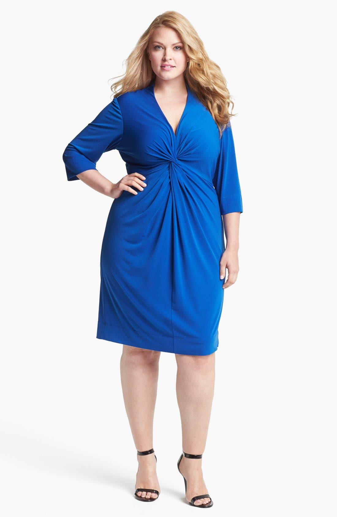 Main Image - Donna Ricco Knot Front Jersey Dress (Plus Size)