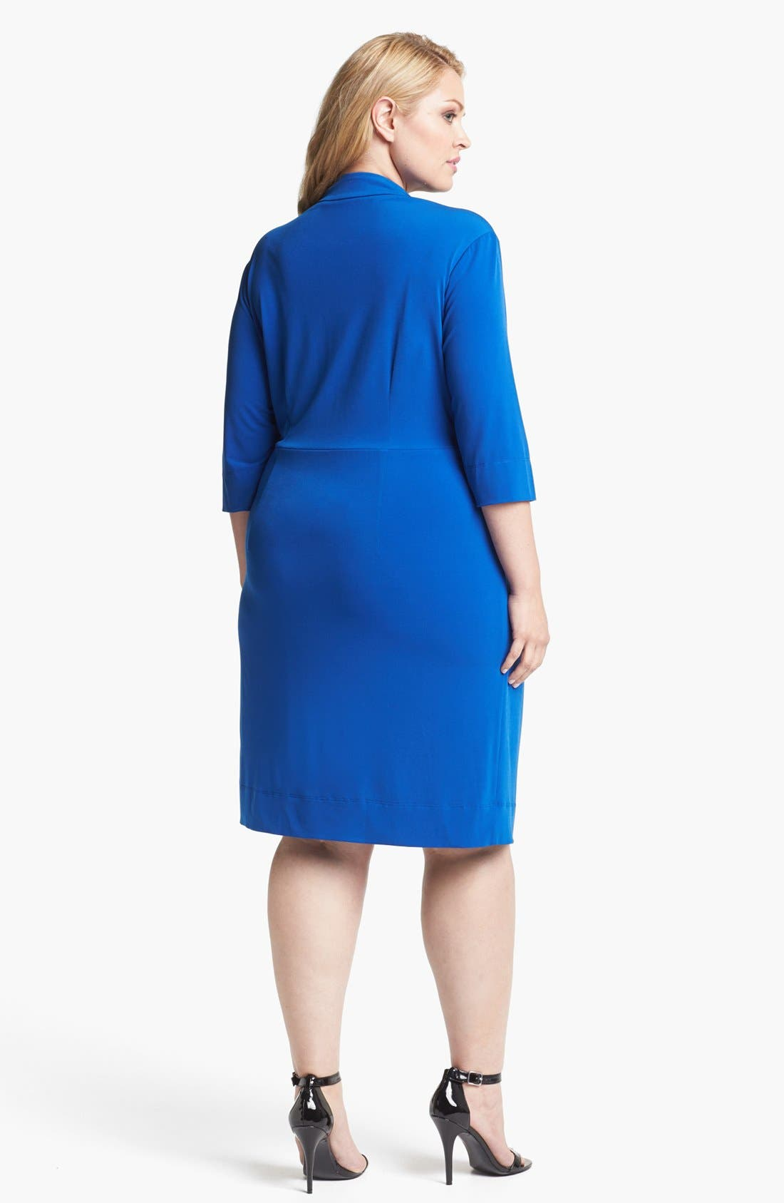Alternate Image 2  - Donna Ricco Knot Front Jersey Dress (Plus Size)